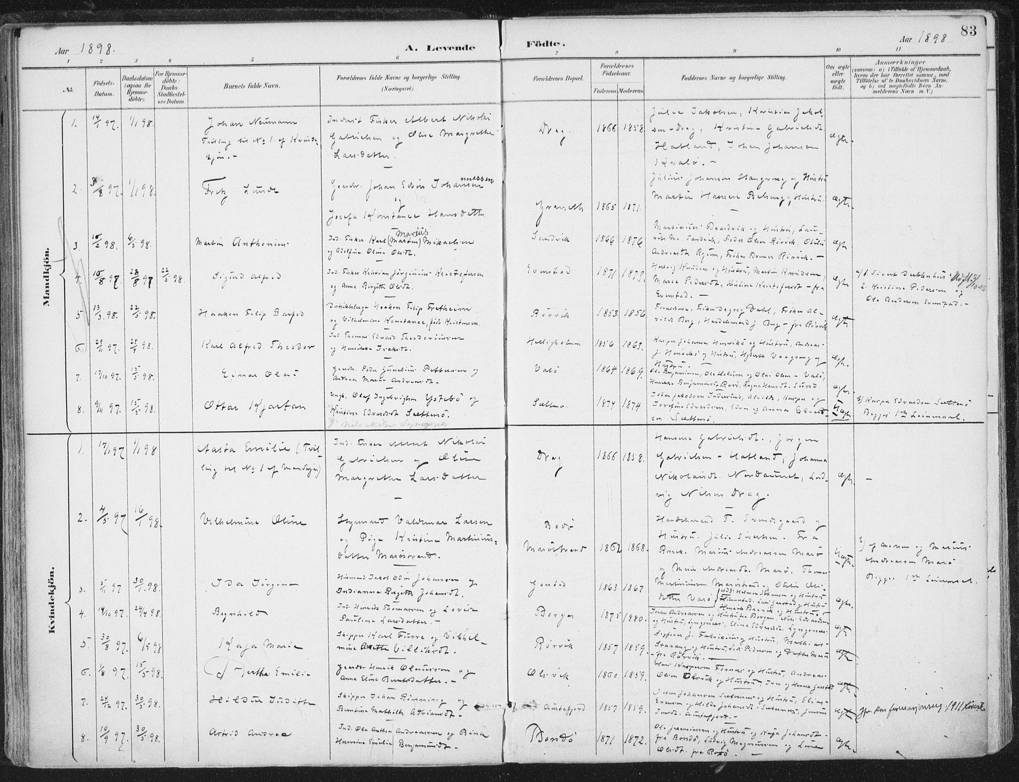 SAT, Ministerialprotokoller, klokkerbøker og fødselsregistre - Nord-Trøndelag, 786/L0687: Ministerialbok nr. 786A03, 1888-1898, s. 83