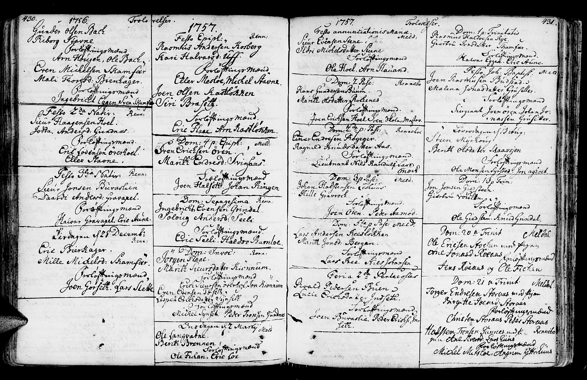 SAT, Ministerialprotokoller, klokkerbøker og fødselsregistre - Sør-Trøndelag, 672/L0851: Ministerialbok nr. 672A04, 1751-1775, s. 430-431