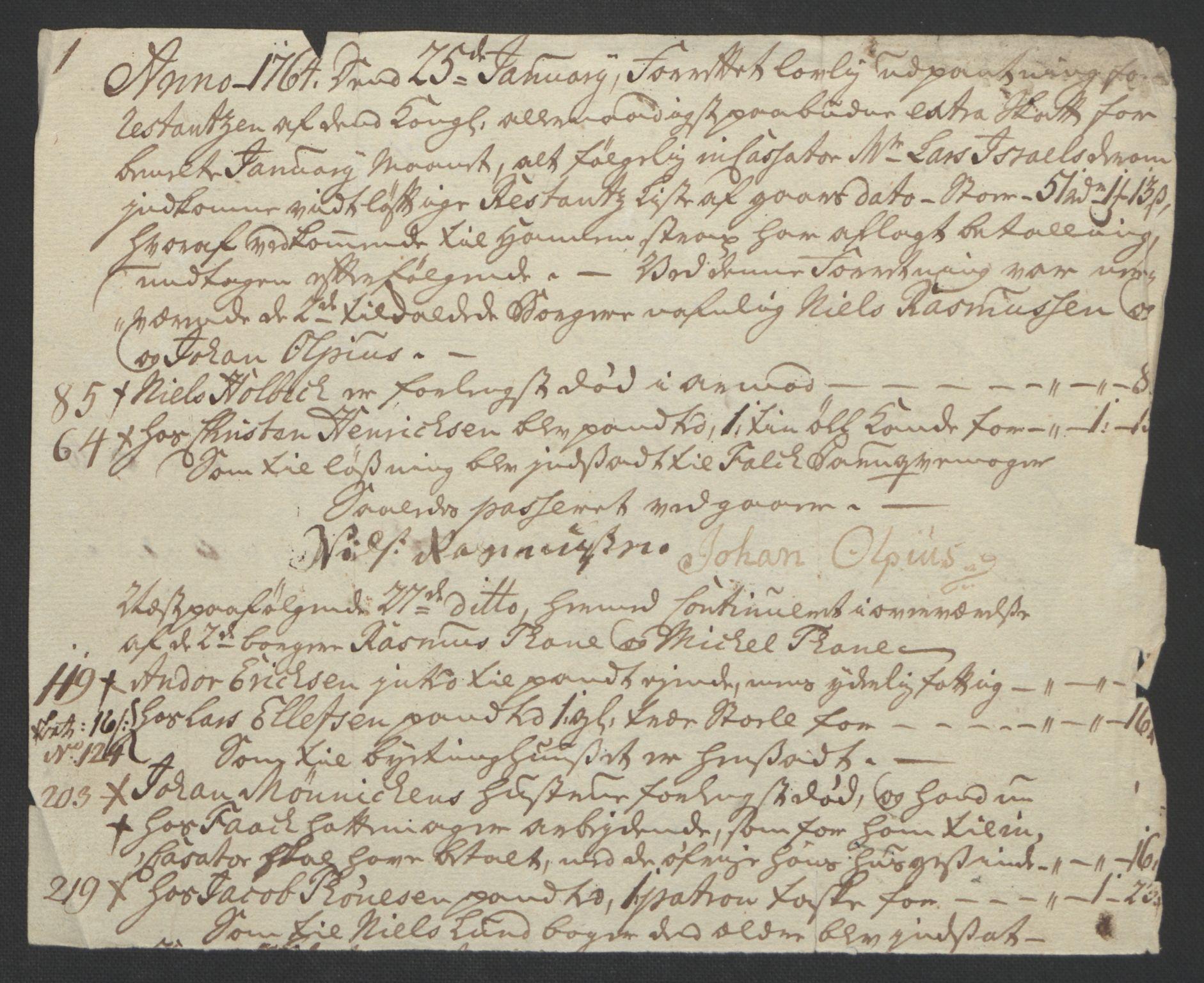 RA, Rentekammeret inntil 1814, Reviderte regnskaper, Byregnskaper, R/Rf/L0119: [F2] Kontribusjonsregnskap, 1762-1767, s. 239