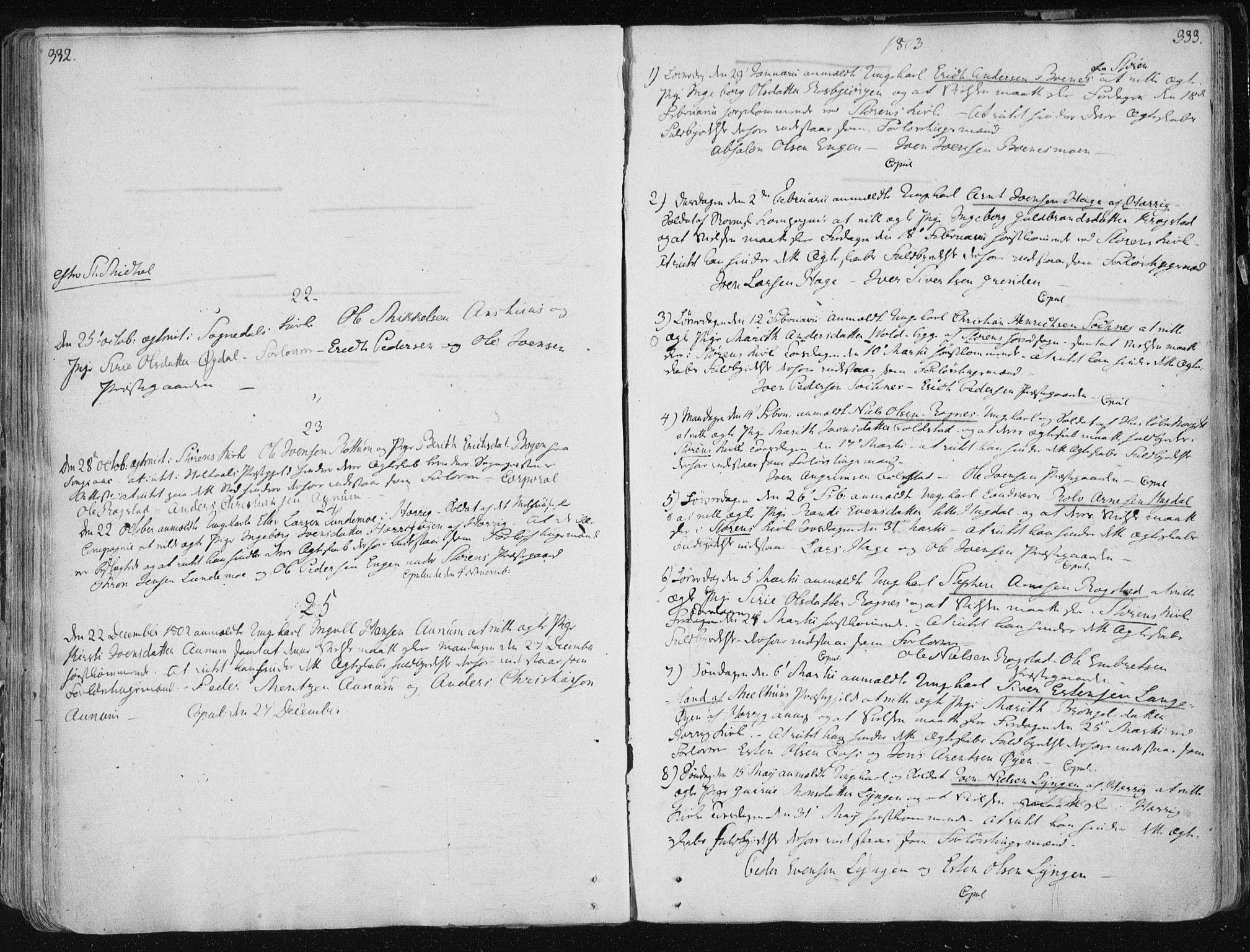 SAT, Ministerialprotokoller, klokkerbøker og fødselsregistre - Sør-Trøndelag, 687/L0992: Ministerialbok nr. 687A03 /1, 1788-1815, s. 332-333
