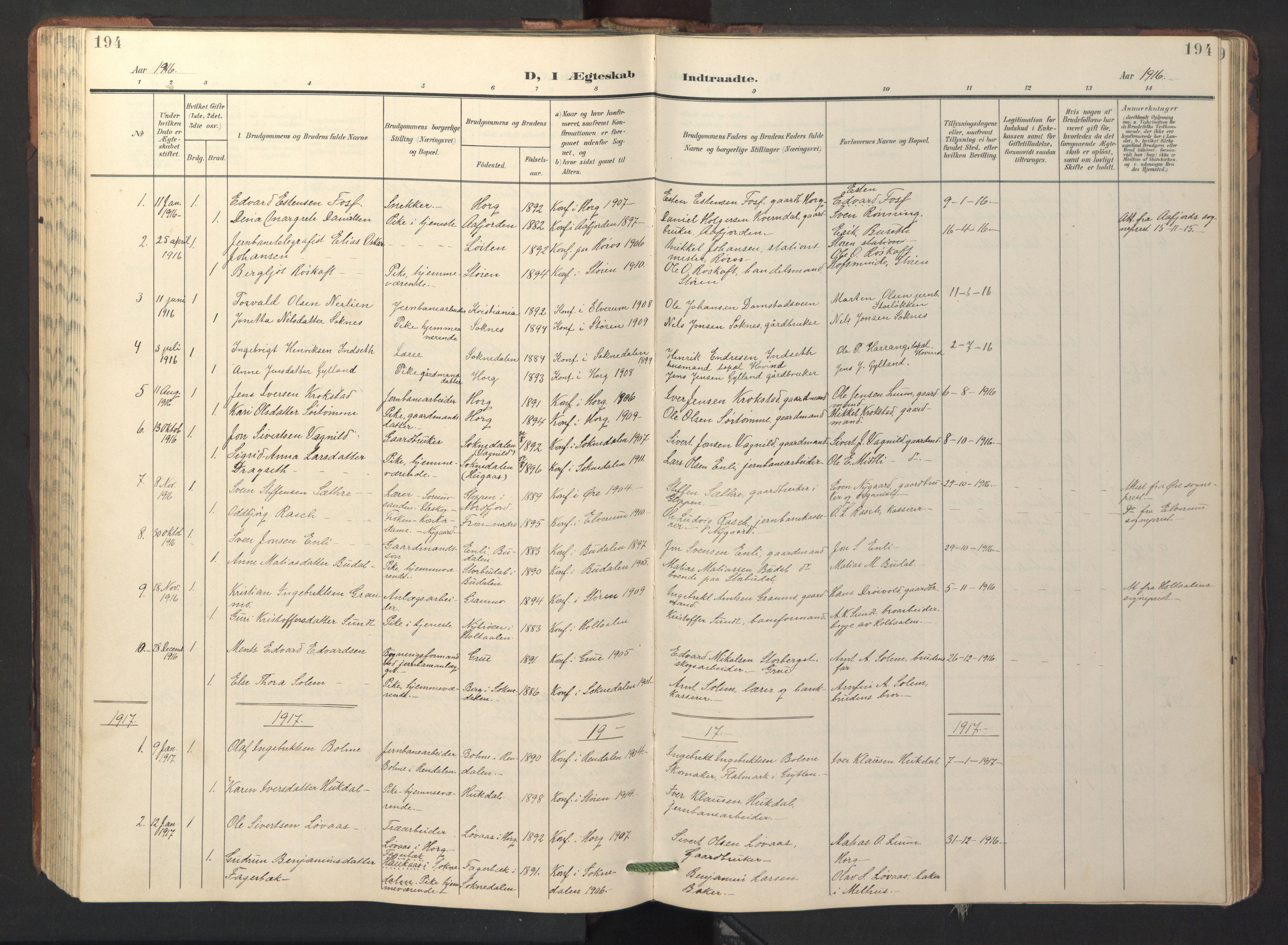 SAT, Ministerialprotokoller, klokkerbøker og fødselsregistre - Sør-Trøndelag, 687/L1019: Klokkerbok nr. 687C03, 1904-1931, s. 194
