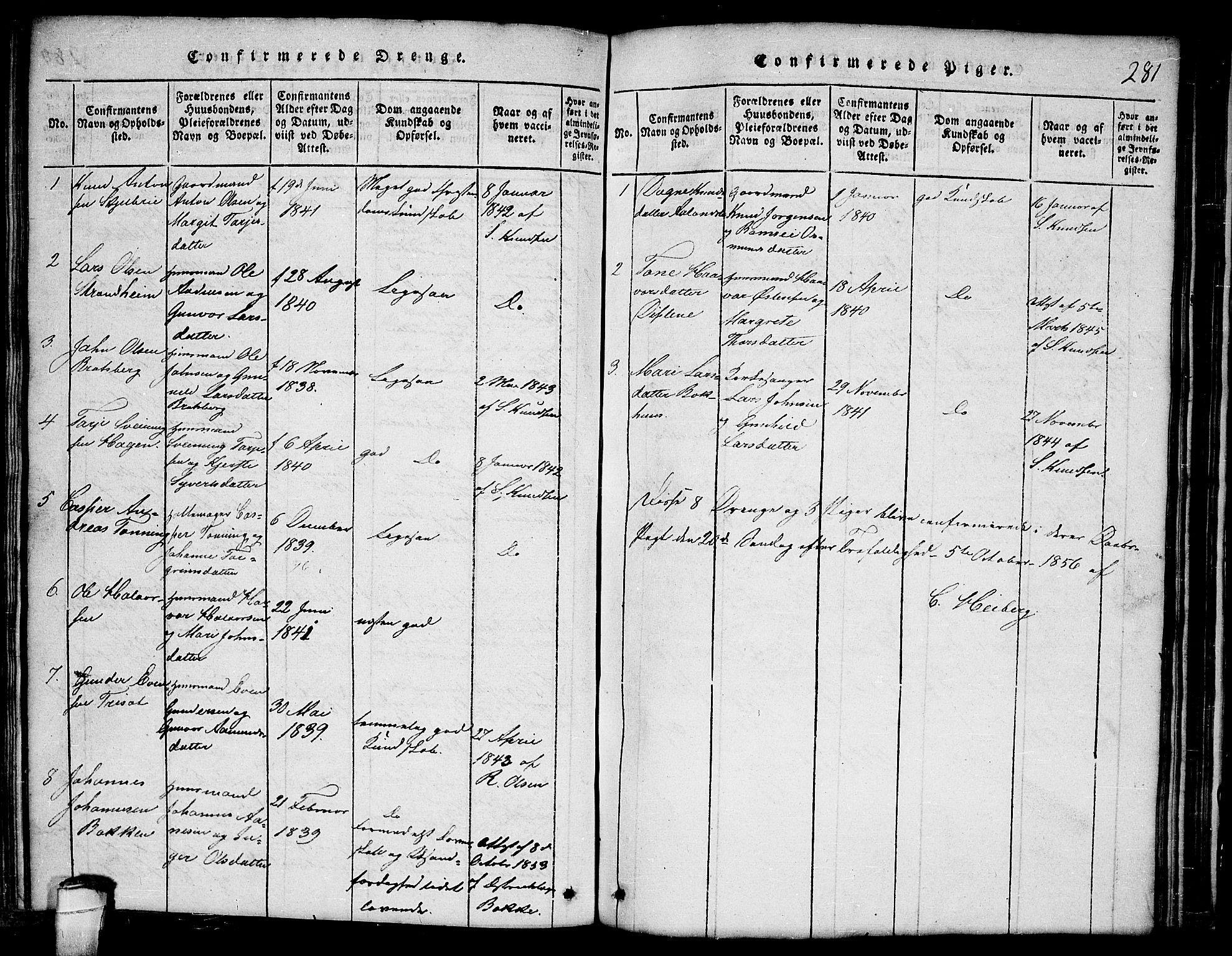 SAKO, Lårdal kirkebøker, G/Ga/L0001: Klokkerbok nr. I 1, 1815-1861, s. 281