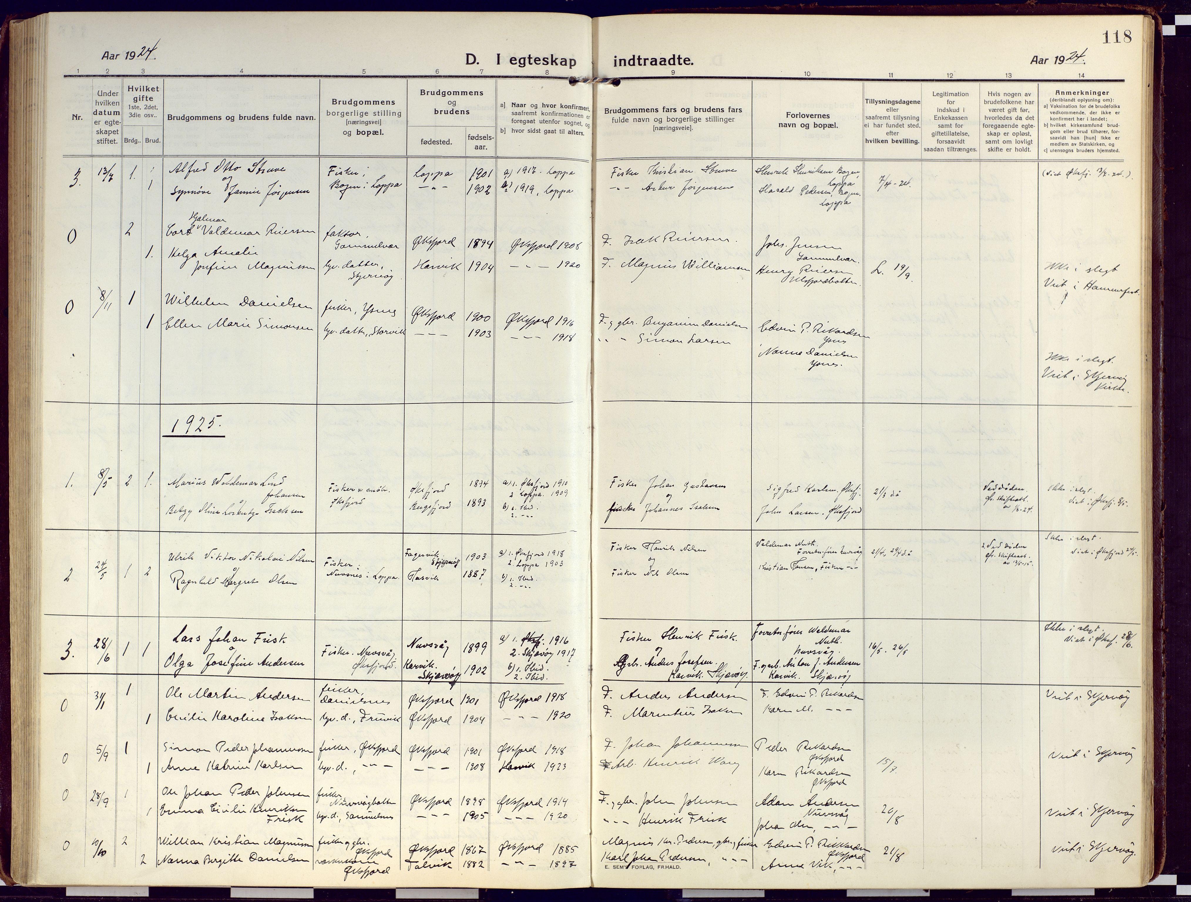 SATØ, Loppa sokneprestkontor, H/Ha/L0012kirke: Ministerialbok nr. 12, 1917-1932, s. 118