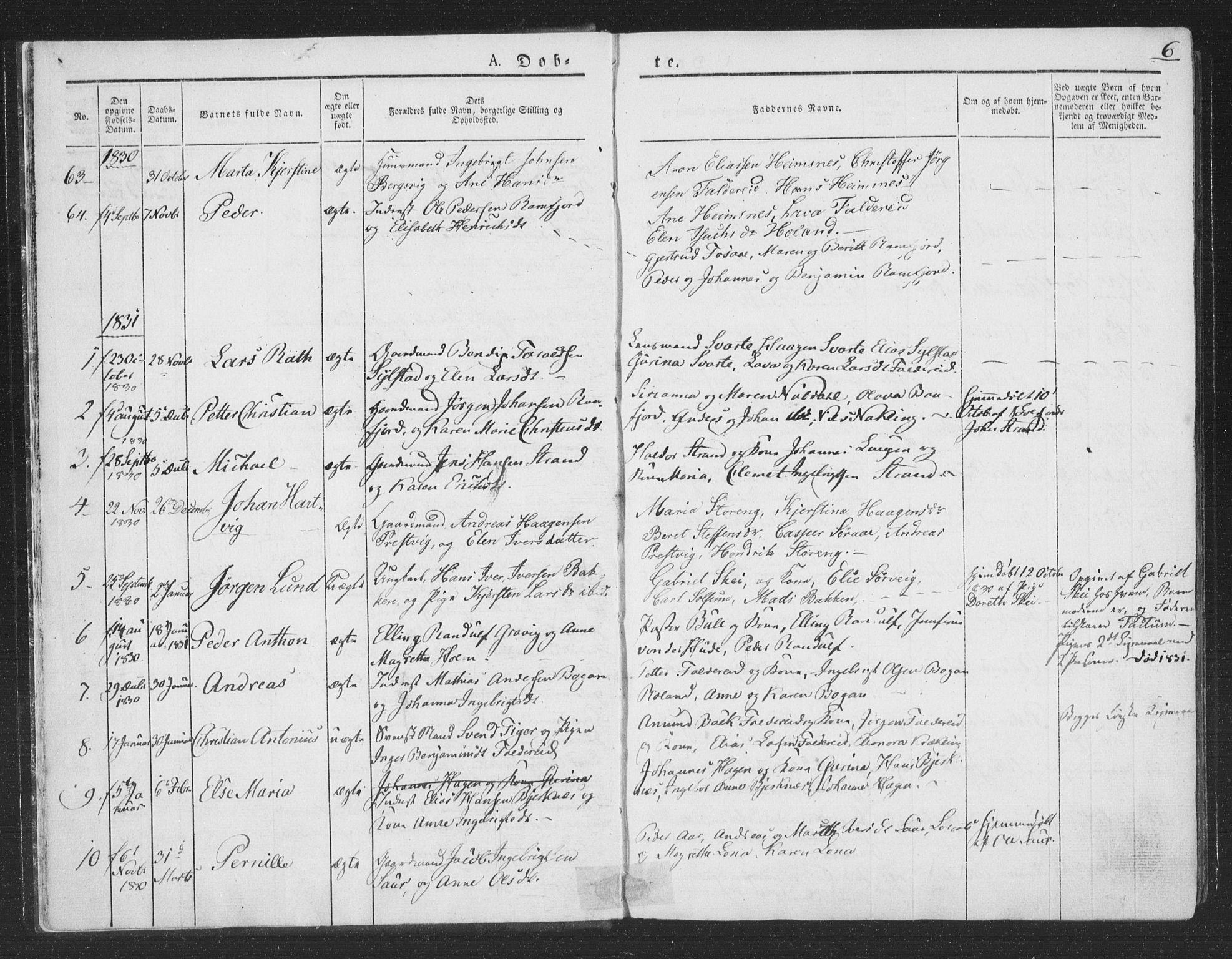 SAT, Ministerialprotokoller, klokkerbøker og fødselsregistre - Nord-Trøndelag, 780/L0639: Ministerialbok nr. 780A04, 1830-1844, s. 6