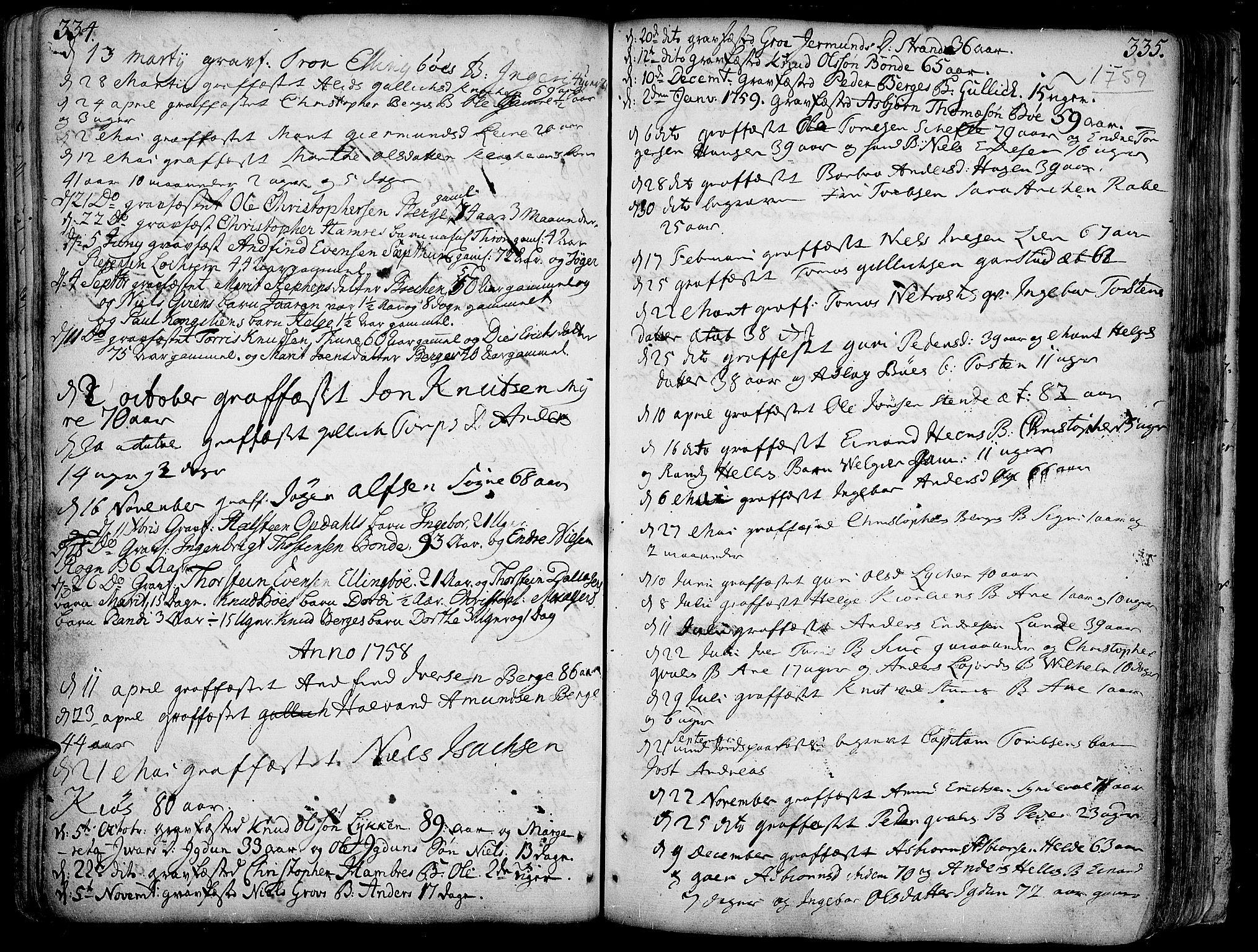 SAH, Vang prestekontor, Valdres, Ministerialbok nr. 1, 1730-1796, s. 334-335