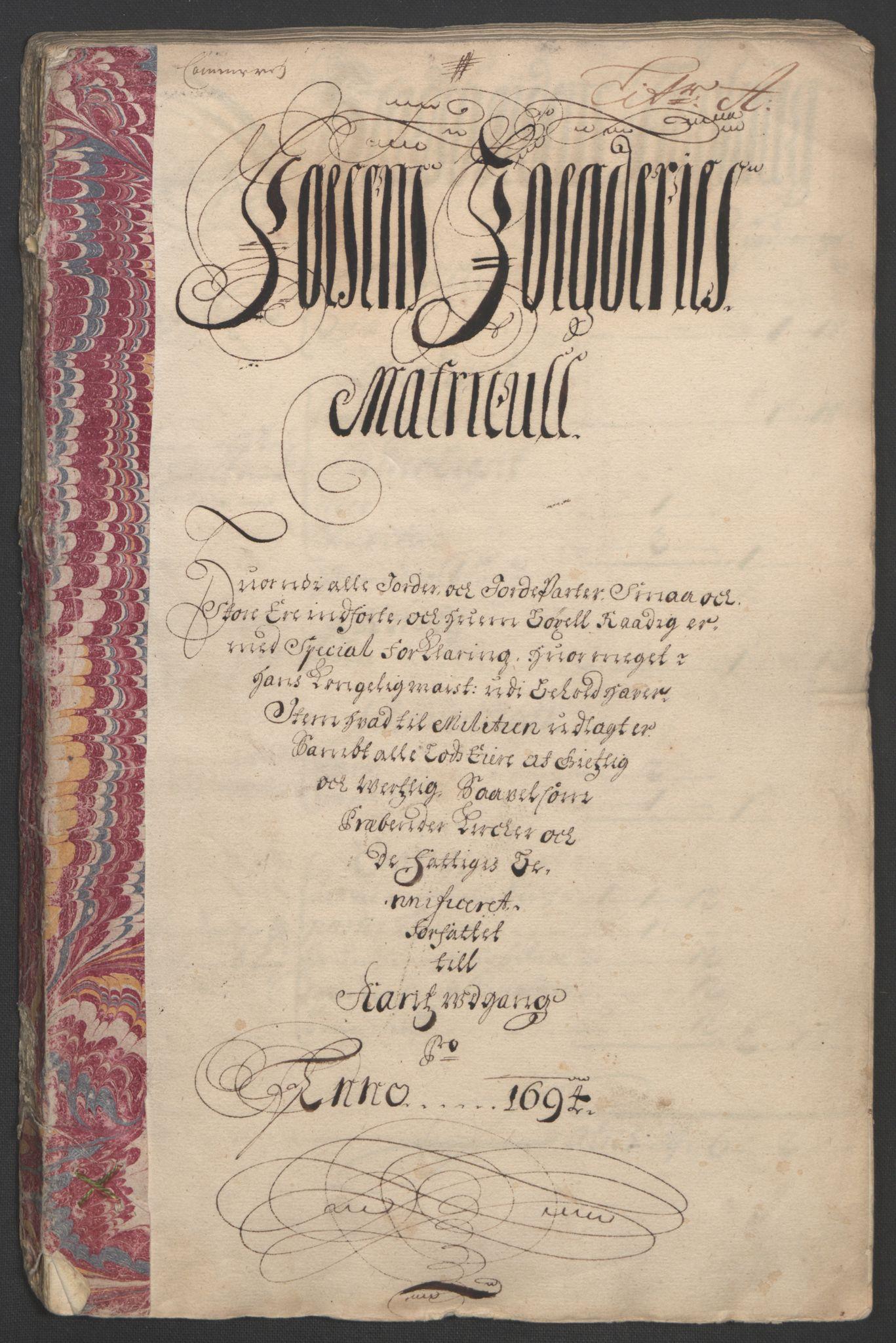 RA, Rentekammeret inntil 1814, Reviderte regnskaper, Fogderegnskap, R57/L3850: Fogderegnskap Fosen, 1694, s. 16