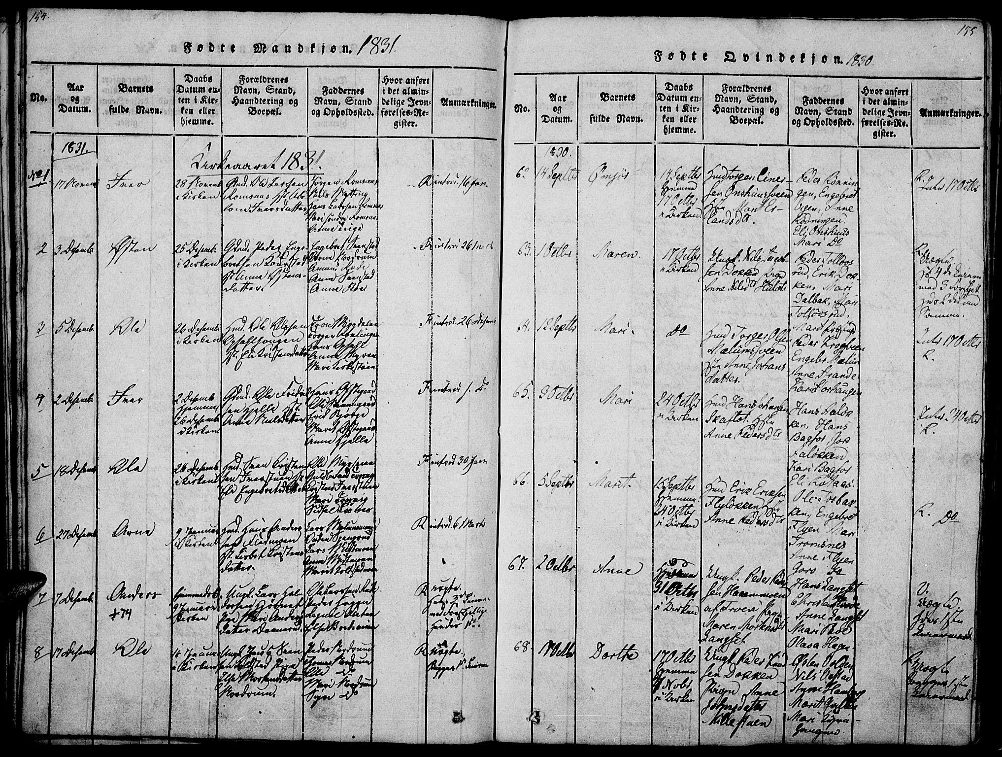 SAH, Ringebu prestekontor, Ministerialbok nr. 4, 1821-1839, s. 154-155