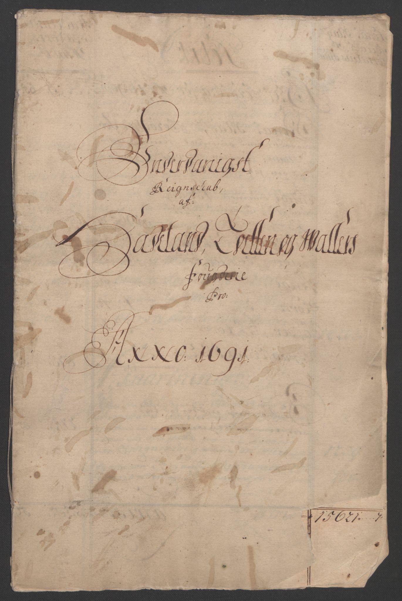 RA, Rentekammeret inntil 1814, Reviderte regnskaper, Fogderegnskap, R18/L1290: Fogderegnskap Hadeland, Toten og Valdres, 1691, s. 3