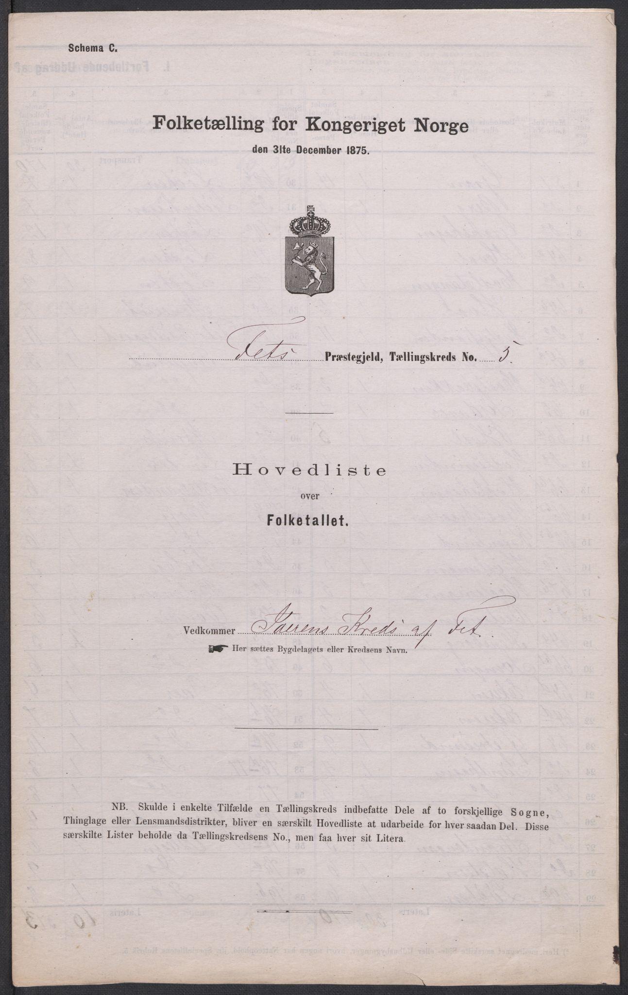 RA, Folketelling 1875 for 0227P Fet prestegjeld, 1875, s. 62