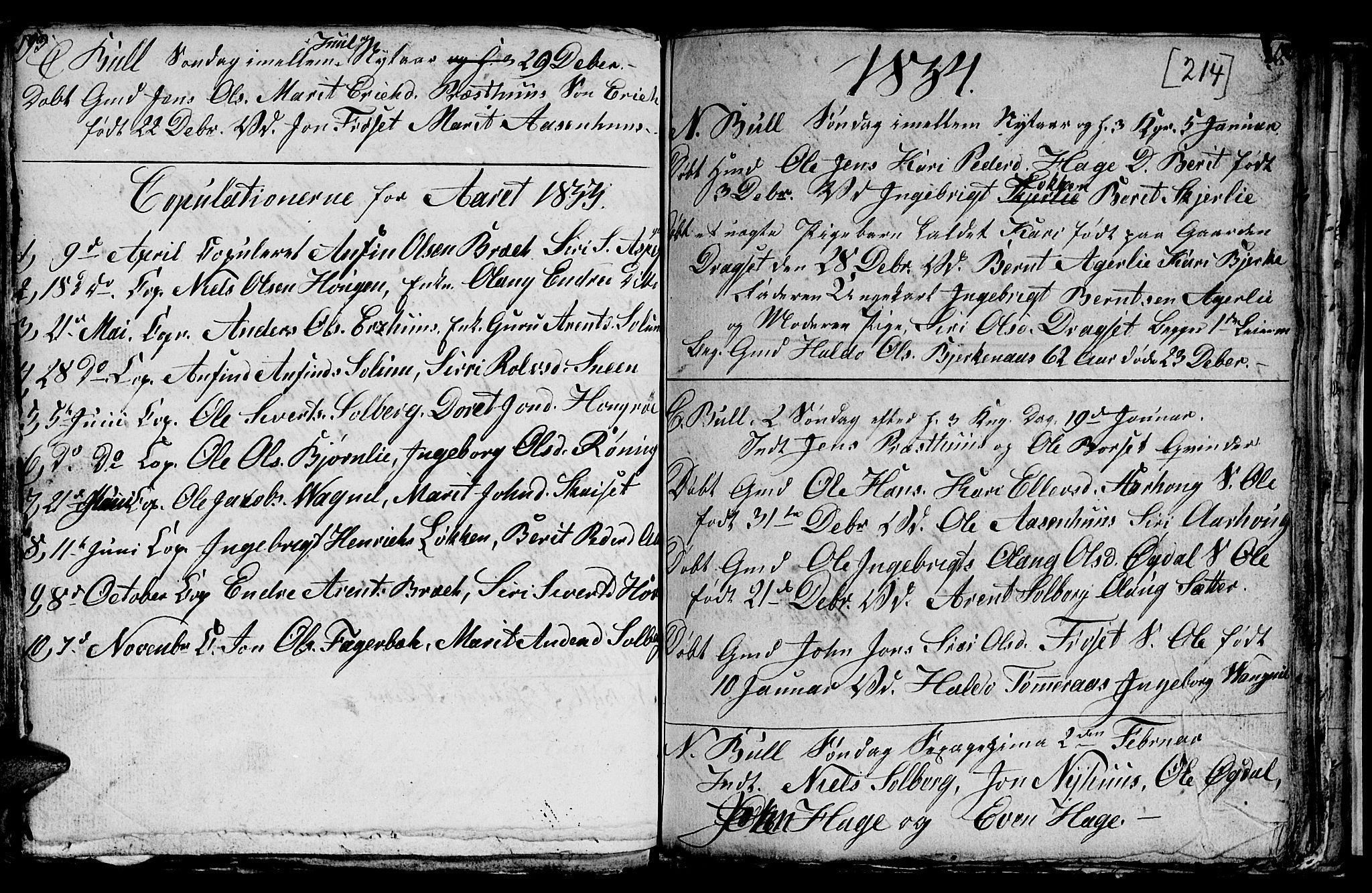 SAT, Ministerialprotokoller, klokkerbøker og fødselsregistre - Sør-Trøndelag, 689/L1042: Klokkerbok nr. 689C01, 1812-1841, s. 213-214