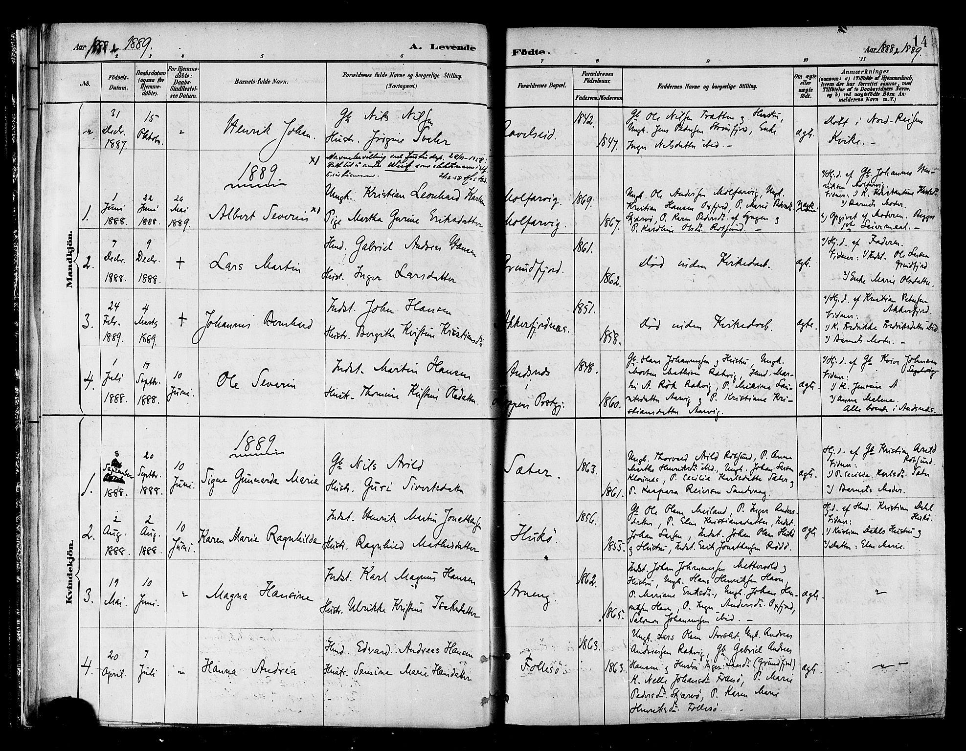 SATØ, Skjervøy sokneprestkontor, H/Ha/Haa/L0010kirke: Ministerialbok nr. 10, 1887-1898, s. 14