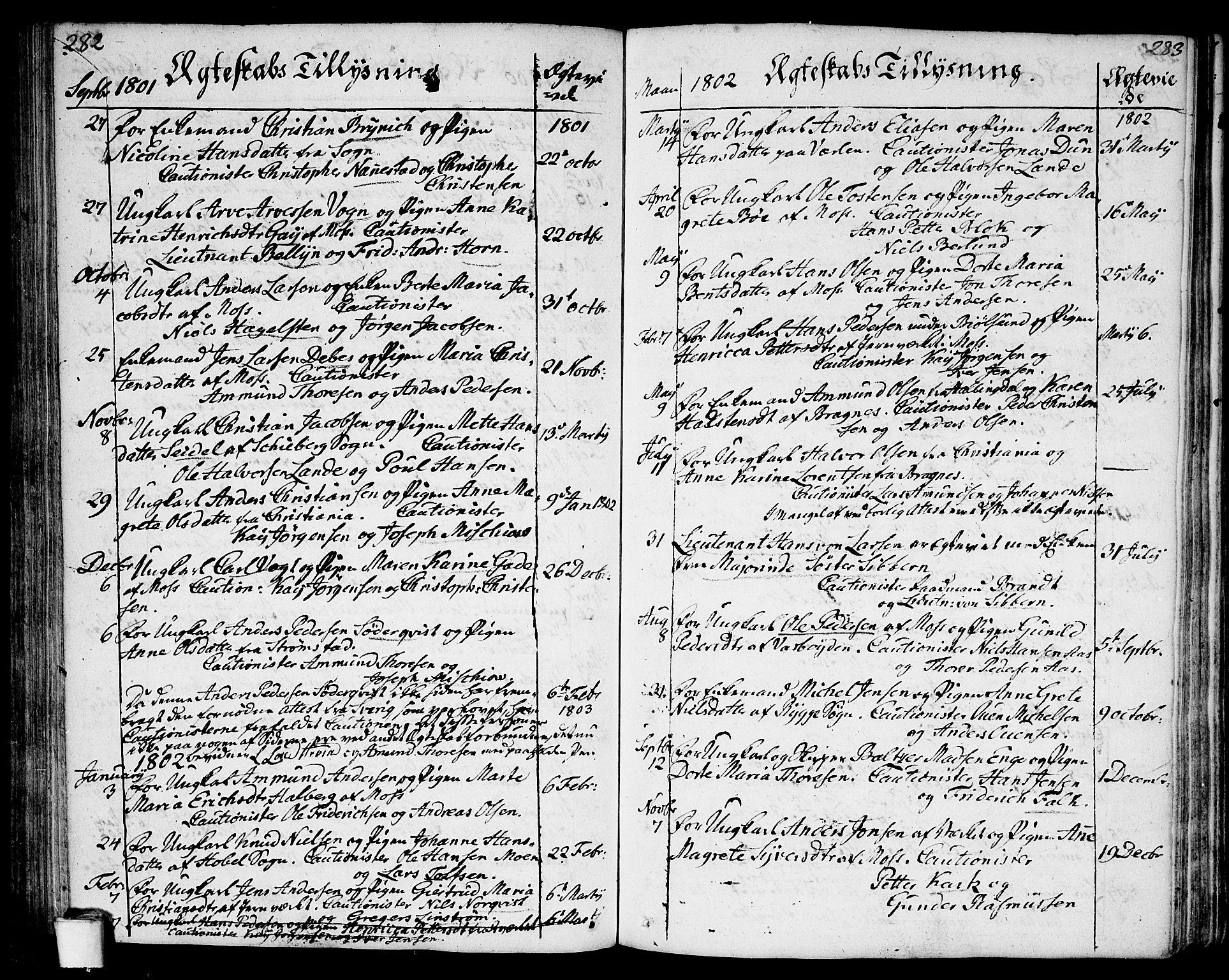 SAO, Moss prestekontor Kirkebøker, F/Fa/Faa/L0004: Ministerialbok nr. I 4, 1784-1808, s. 282-283