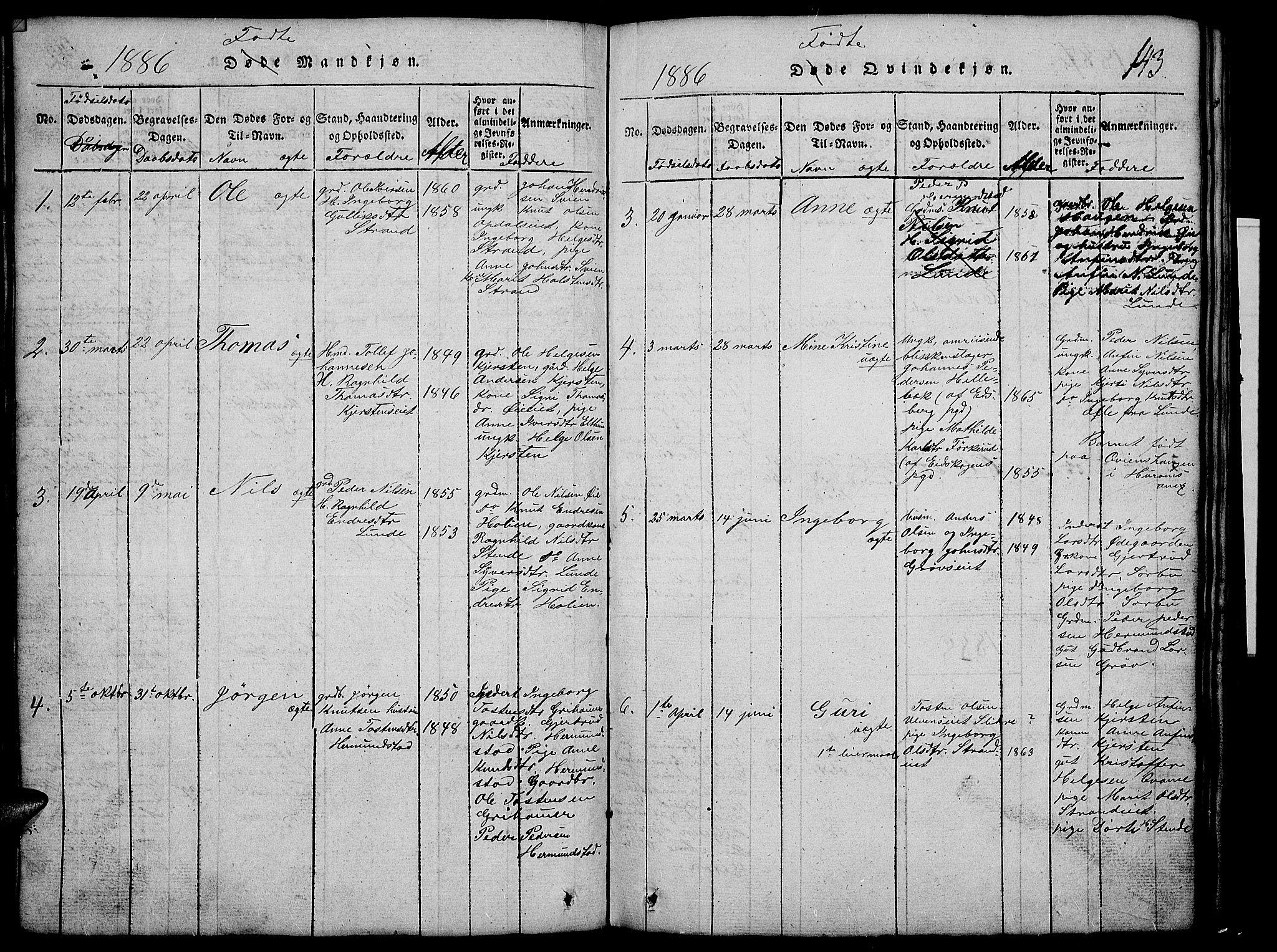 SAH, Vang prestekontor, Valdres, Klokkerbok nr. 2, 1814-1889, s. 143