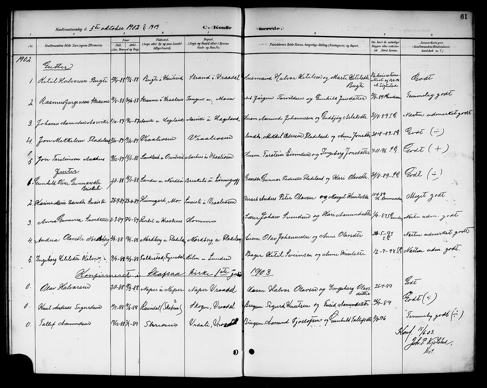 SAKO, Kviteseid kirkebøker, G/Gc/L0001: Klokkerbok nr. III 1, 1893-1916, s. 61