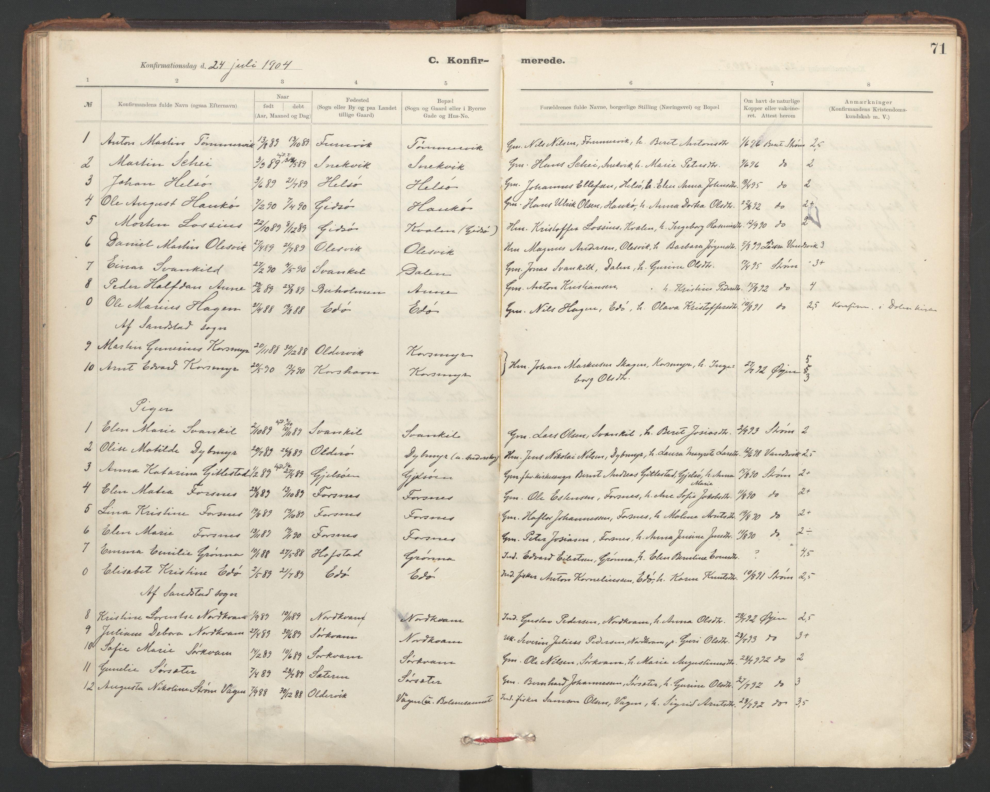SAT, Ministerialprotokoller, klokkerbøker og fødselsregistre - Sør-Trøndelag, 635/L0552: Ministerialbok nr. 635A02, 1899-1919, s. 71