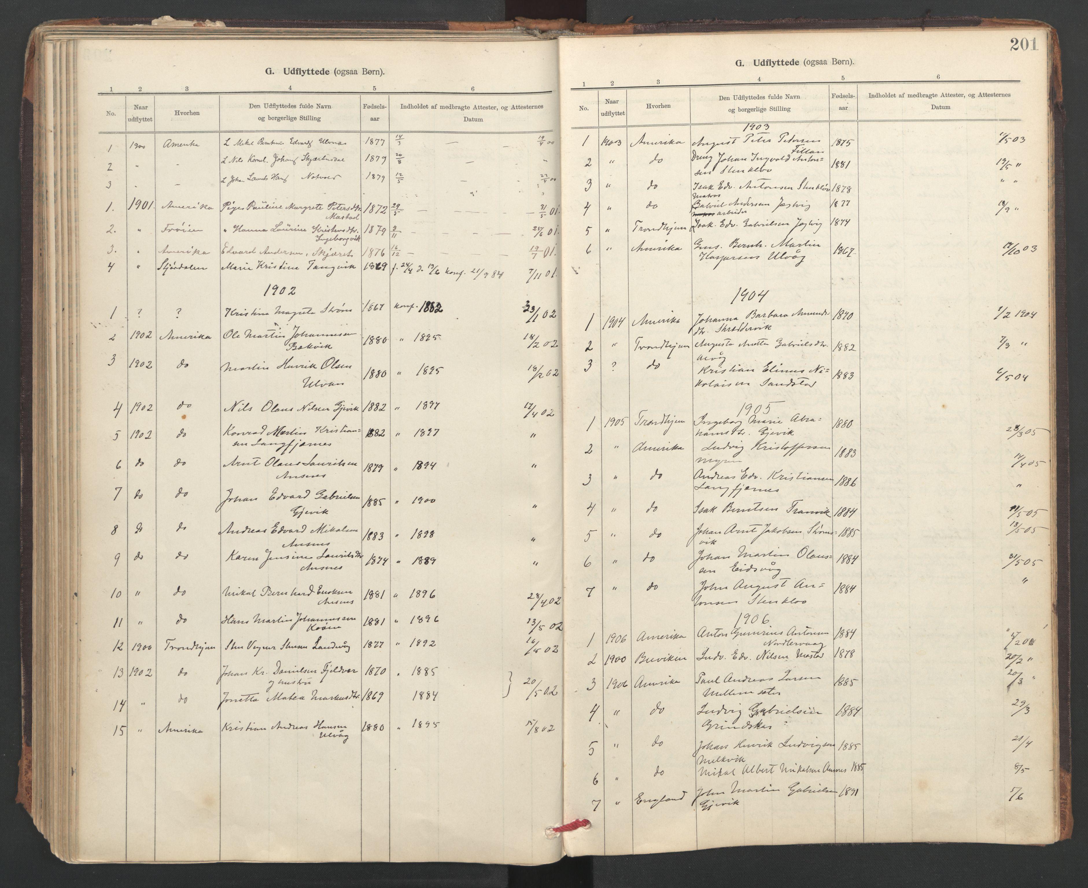 SAT, Ministerialprotokoller, klokkerbøker og fødselsregistre - Sør-Trøndelag, 637/L0559: Ministerialbok nr. 637A02, 1899-1923, s. 201