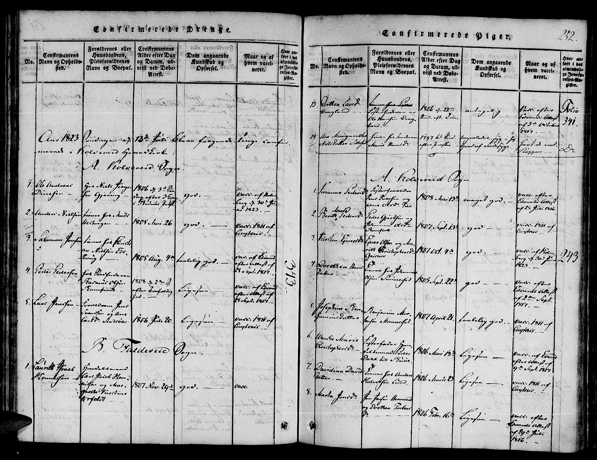 SAT, Ministerialprotokoller, klokkerbøker og fødselsregistre - Nord-Trøndelag, 780/L0636: Ministerialbok nr. 780A03 /1, 1815-1830, s. 252