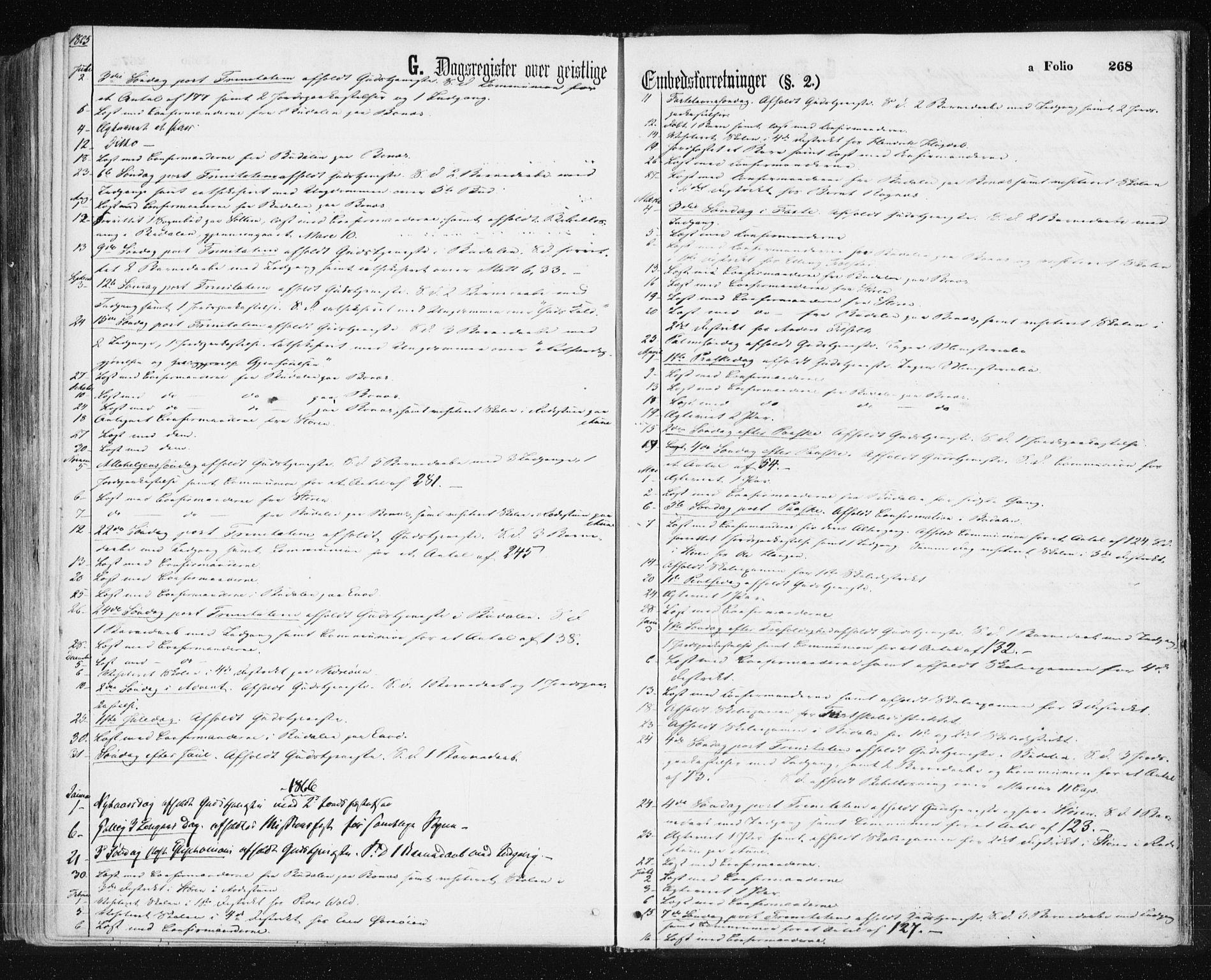 SAT, Ministerialprotokoller, klokkerbøker og fødselsregistre - Sør-Trøndelag, 687/L1001: Ministerialbok nr. 687A07, 1863-1878, s. 268