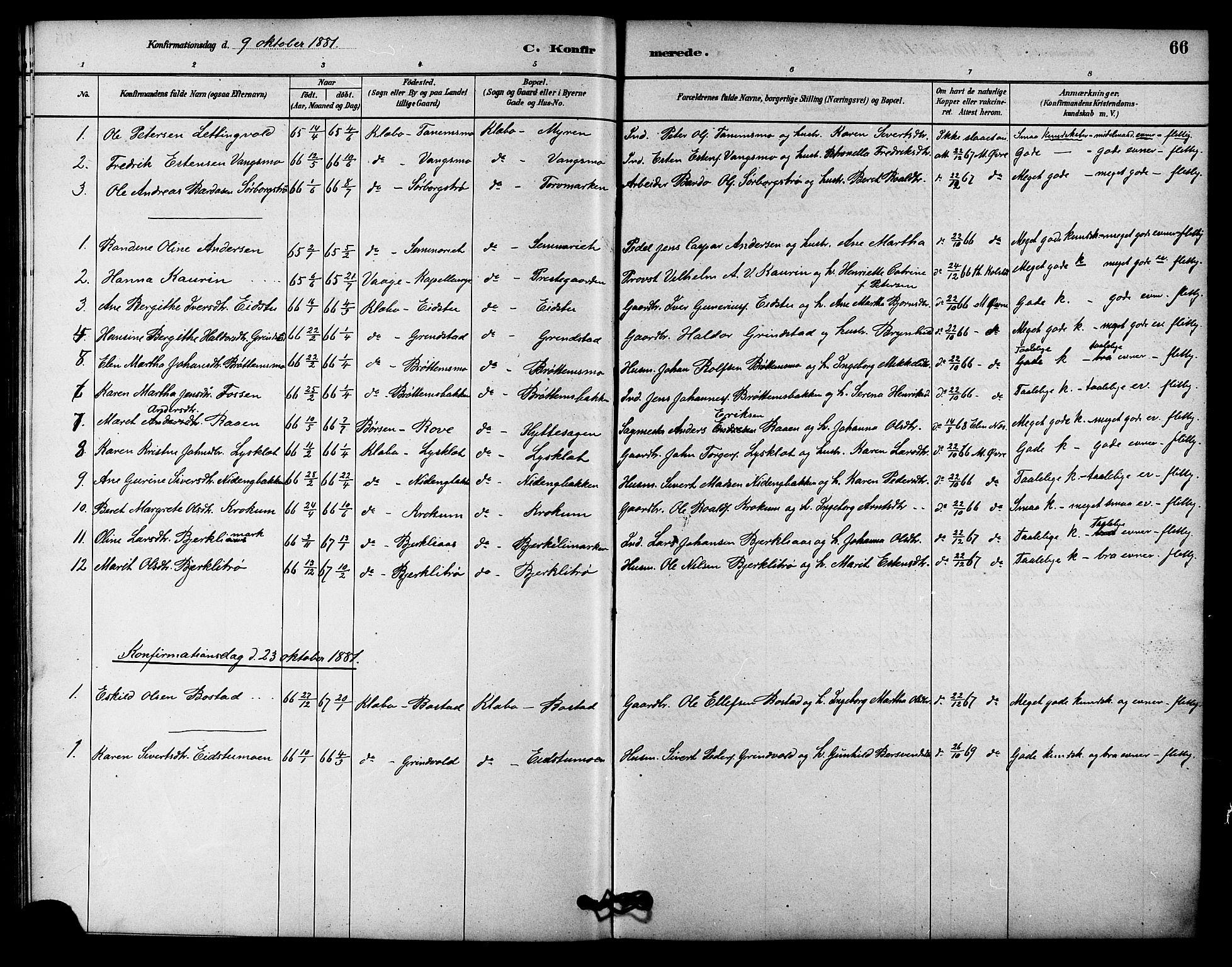 SAT, Ministerialprotokoller, klokkerbøker og fødselsregistre - Sør-Trøndelag, 618/L0444: Ministerialbok nr. 618A07, 1880-1898, s. 66
