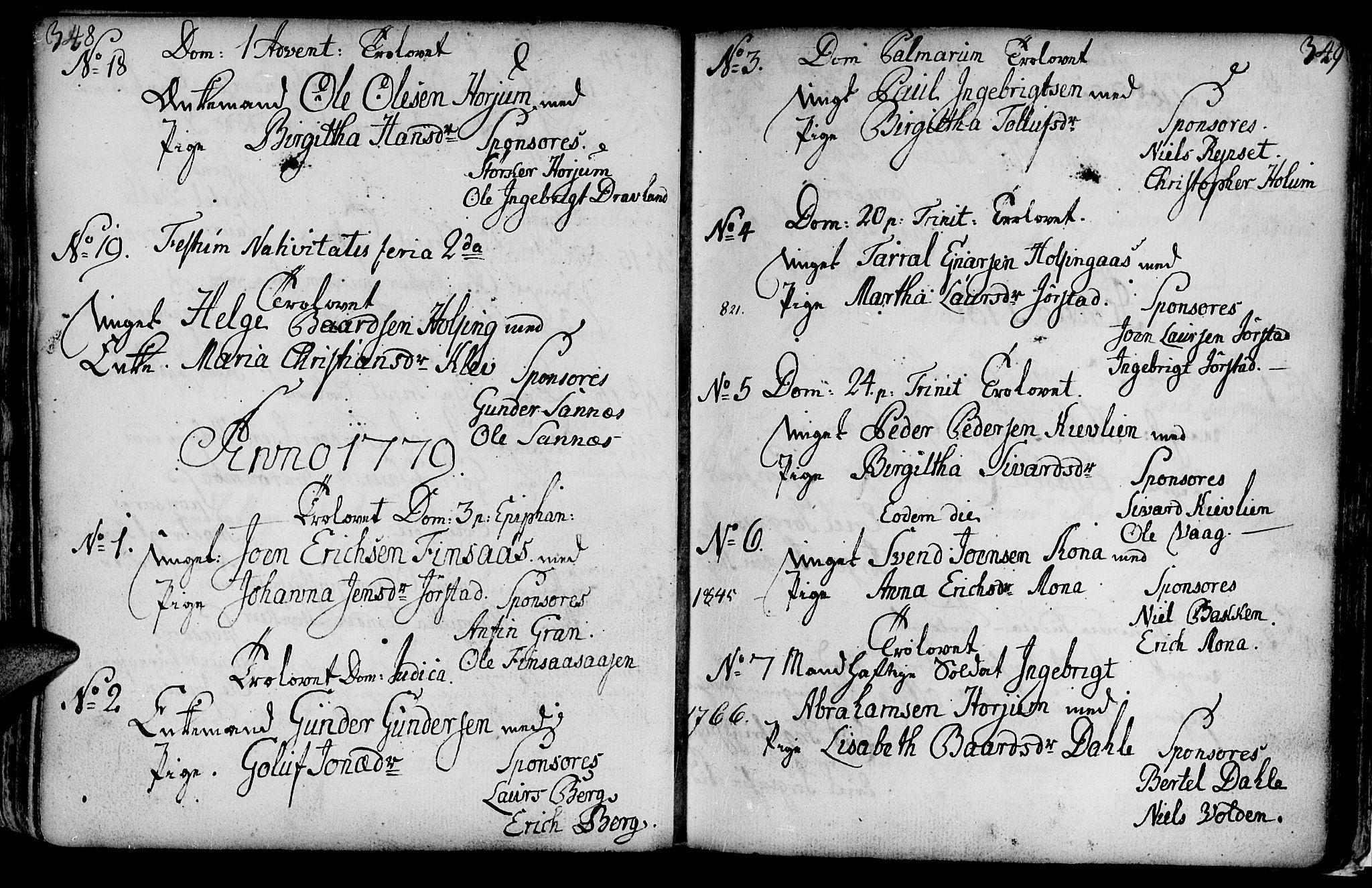 SAT, Ministerialprotokoller, klokkerbøker og fødselsregistre - Nord-Trøndelag, 749/L0467: Ministerialbok nr. 749A01, 1733-1787, s. 348-349