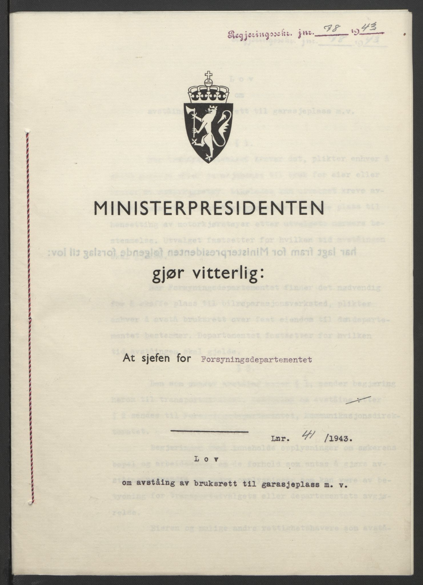 RA, NS-administrasjonen 1940-1945 (Statsrådsekretariatet, de kommisariske statsråder mm), D/Db/L0099: Lover, 1943, s. 178