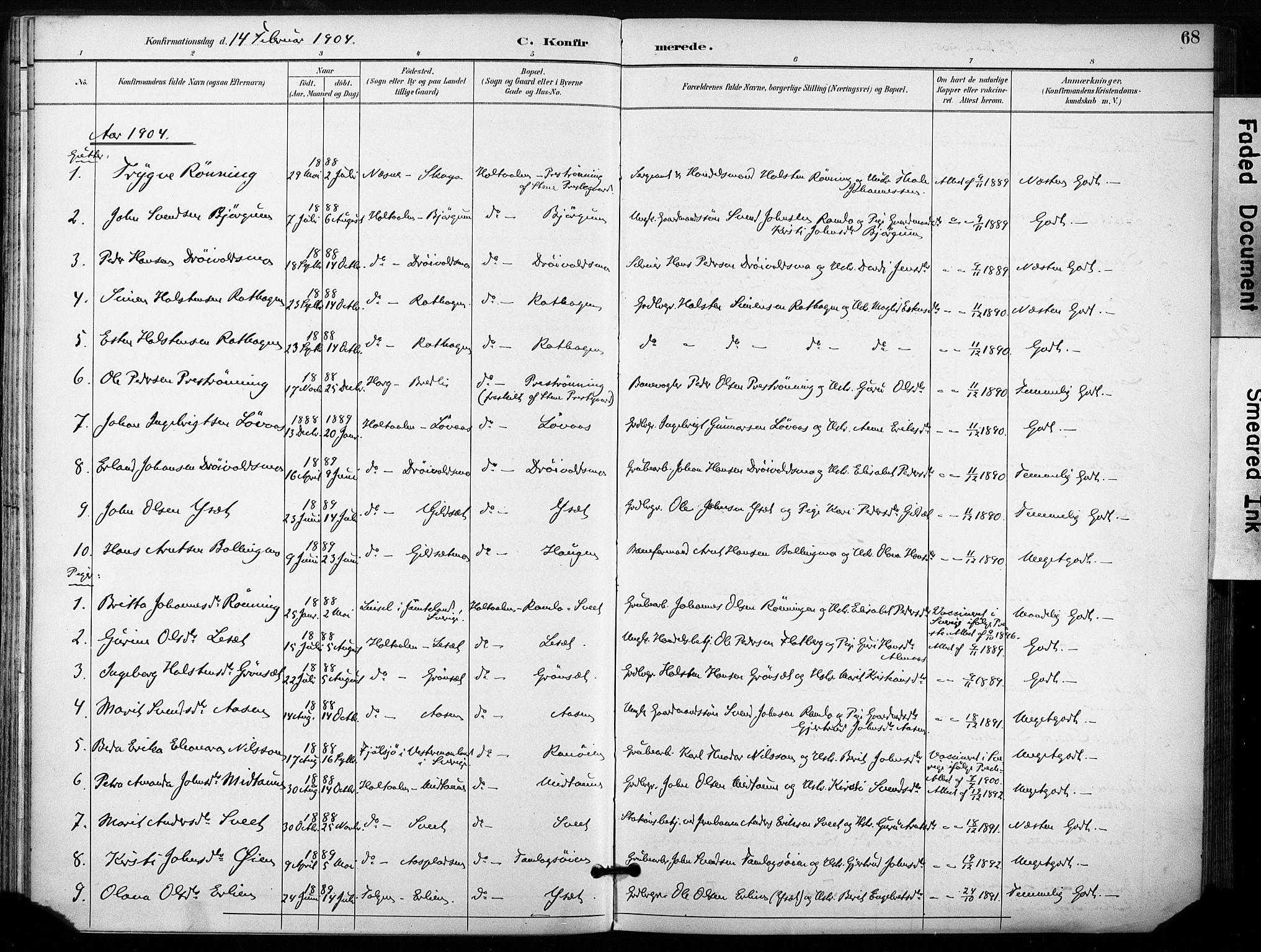 SAT, Ministerialprotokoller, klokkerbøker og fødselsregistre - Sør-Trøndelag, 685/L0973: Ministerialbok nr. 685A10, 1891-1907, s. 68