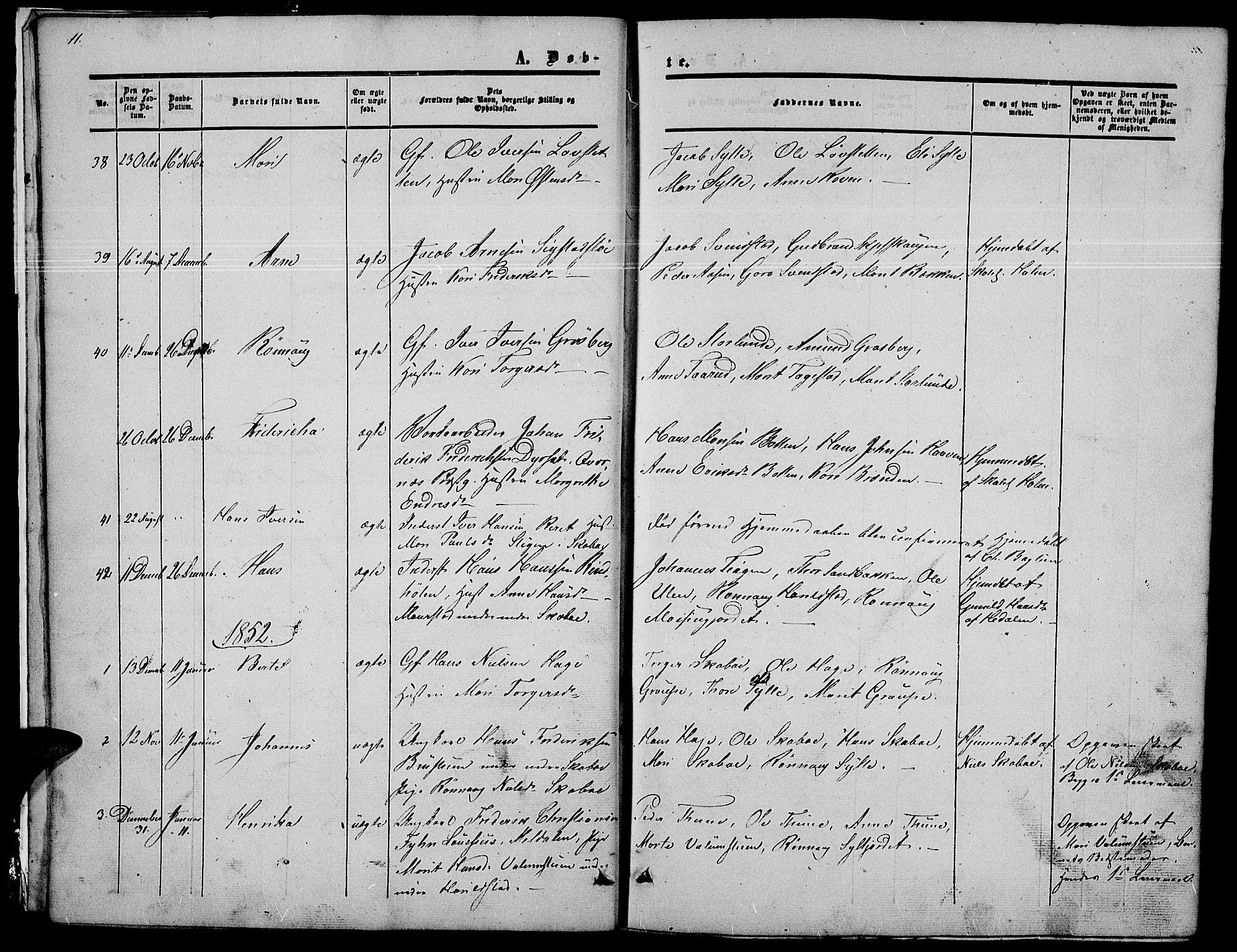SAH, Nord-Fron prestekontor, Klokkerbok nr. 2, 1851-1883, s. 11