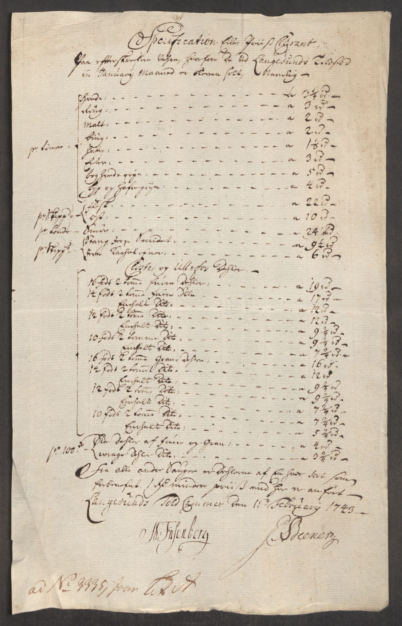 RA, Rentekammeret inntil 1814, Realistisk ordnet avdeling, Oe/L0002: [Ø1]: Priskuranter, 1740-1744, s. 724