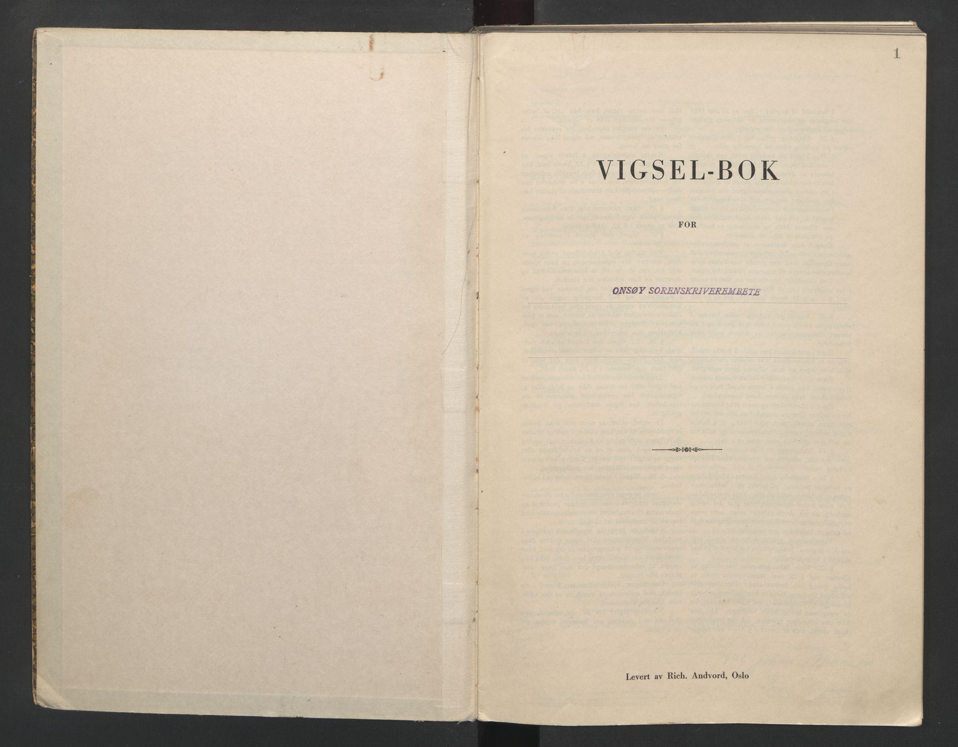 SAO, Onsøy sorenskriveri, L/La/L0004: Vigselsbok, 1943-1944, s. 1