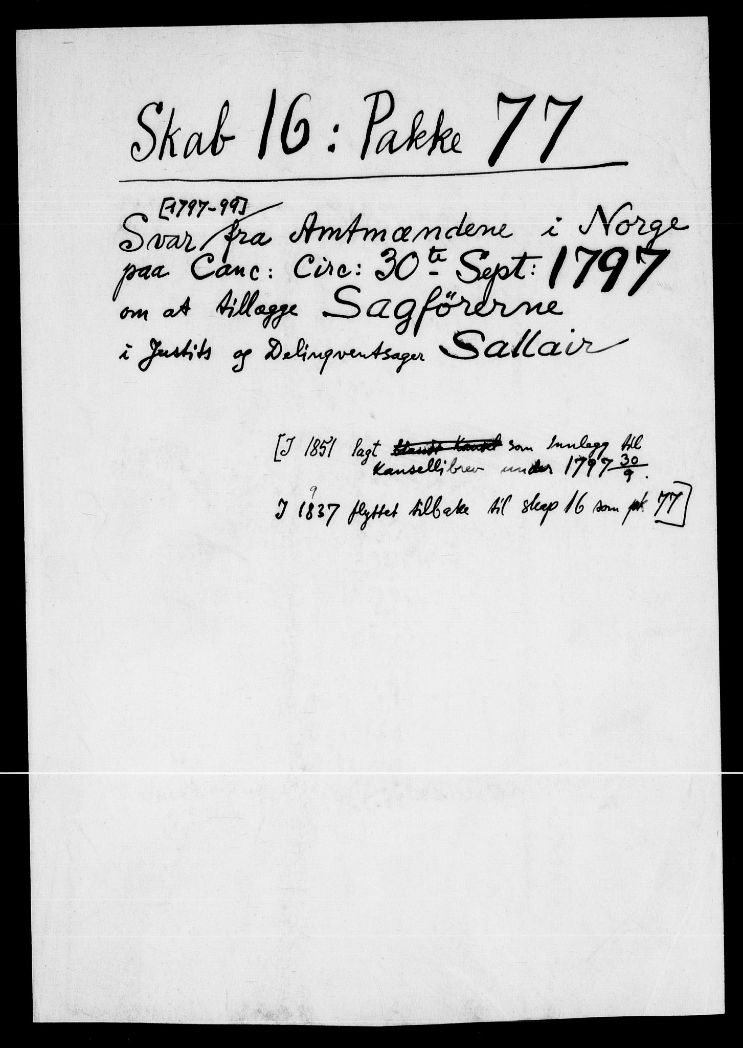 RA, Danske Kanselli, Skapsaker, F/L0128: Skap 16, pakke 77-81, 1797-1804, s. 3