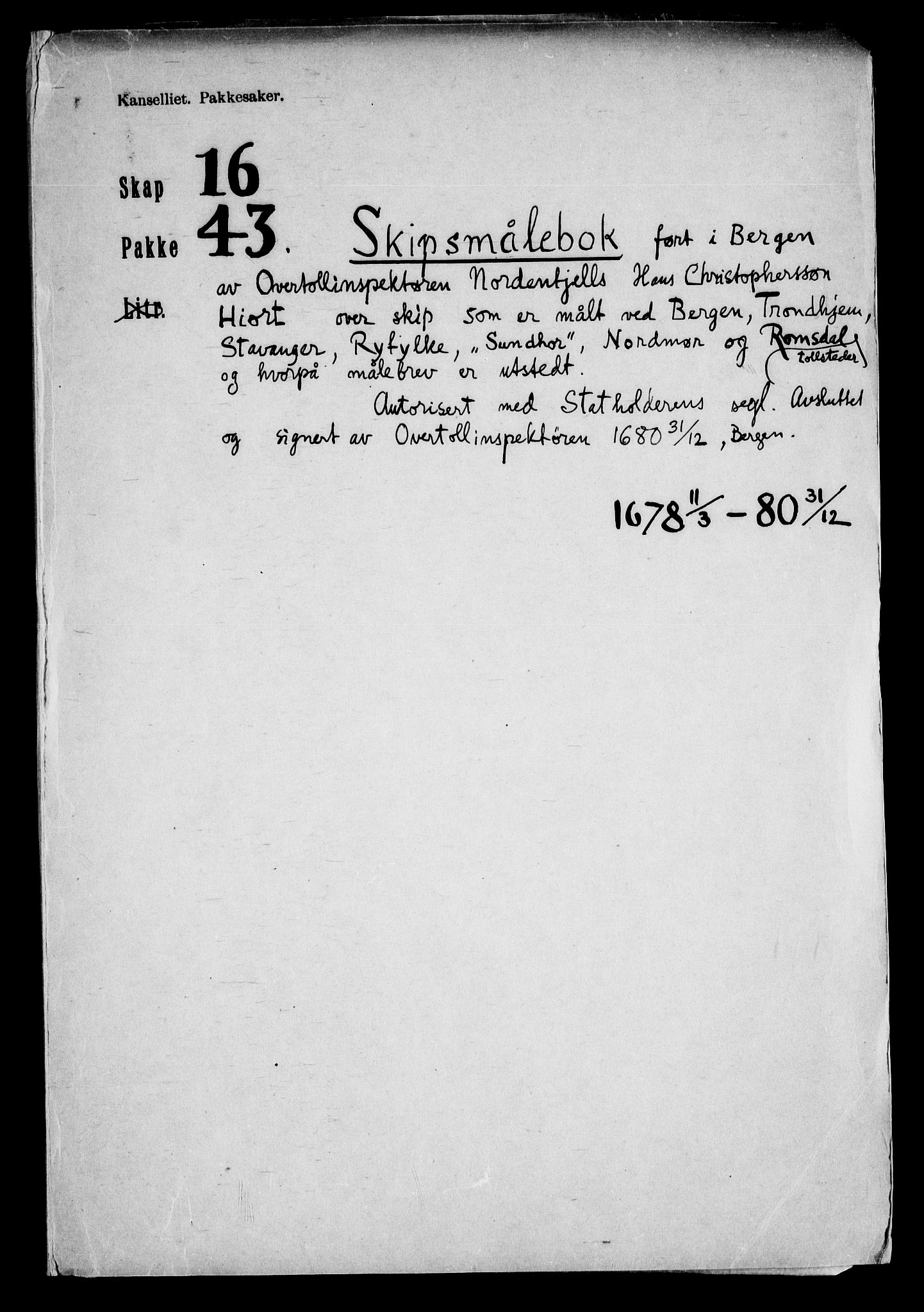 RA, Danske Kanselli, Skapsaker, F/L0116: Skap 16, pakke 42-47, 1625-1717, s. 2