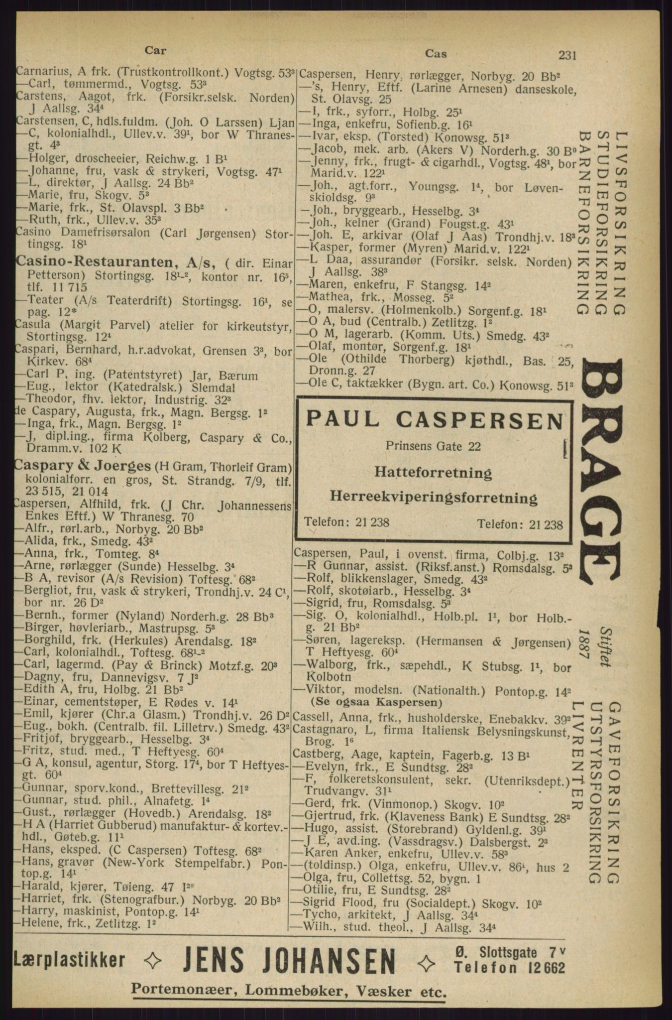 RA, Oslo adressebok (publikasjon)*, 1927, s. 231