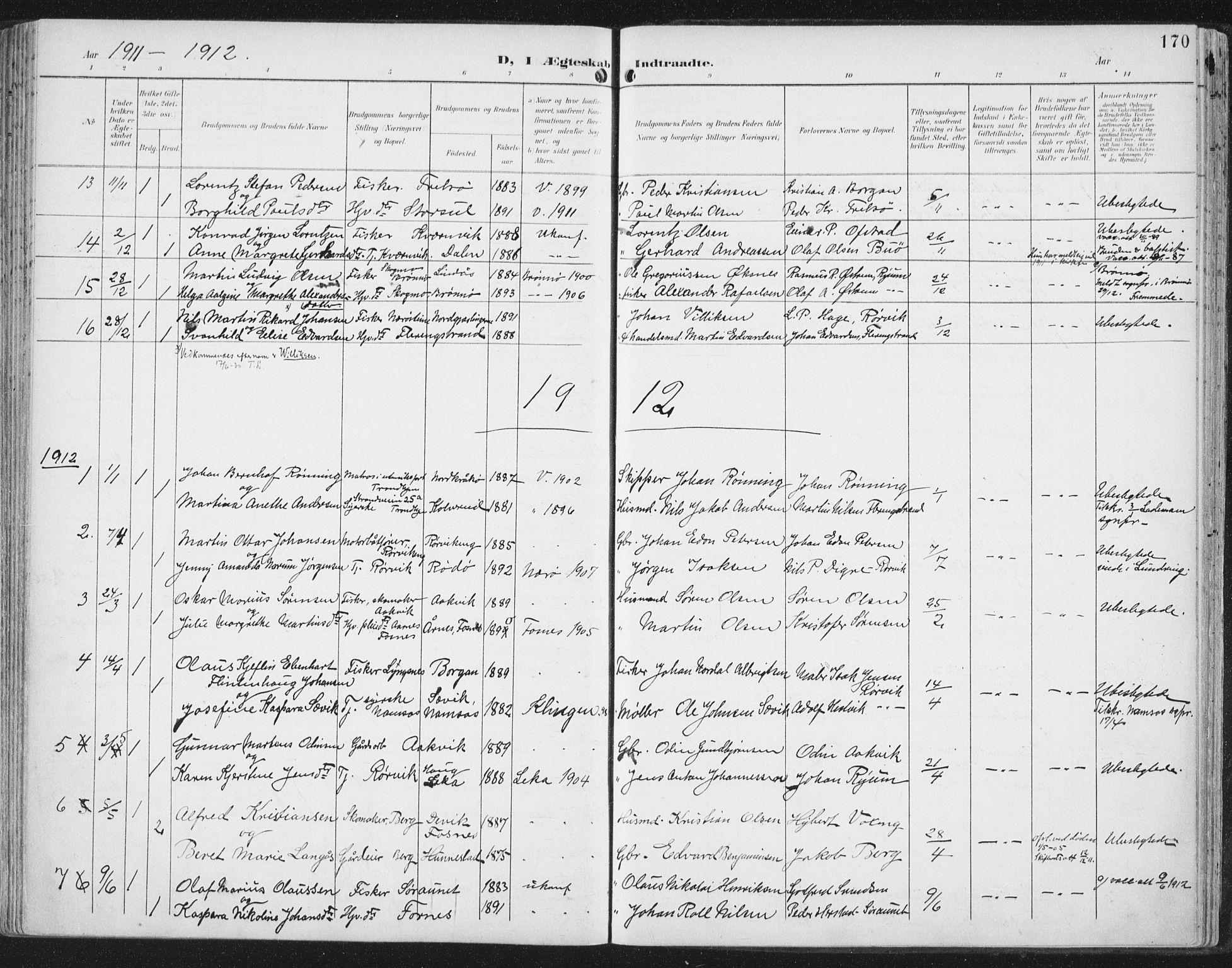 SAT, Ministerialprotokoller, klokkerbøker og fødselsregistre - Nord-Trøndelag, 786/L0688: Ministerialbok nr. 786A04, 1899-1912, s. 170