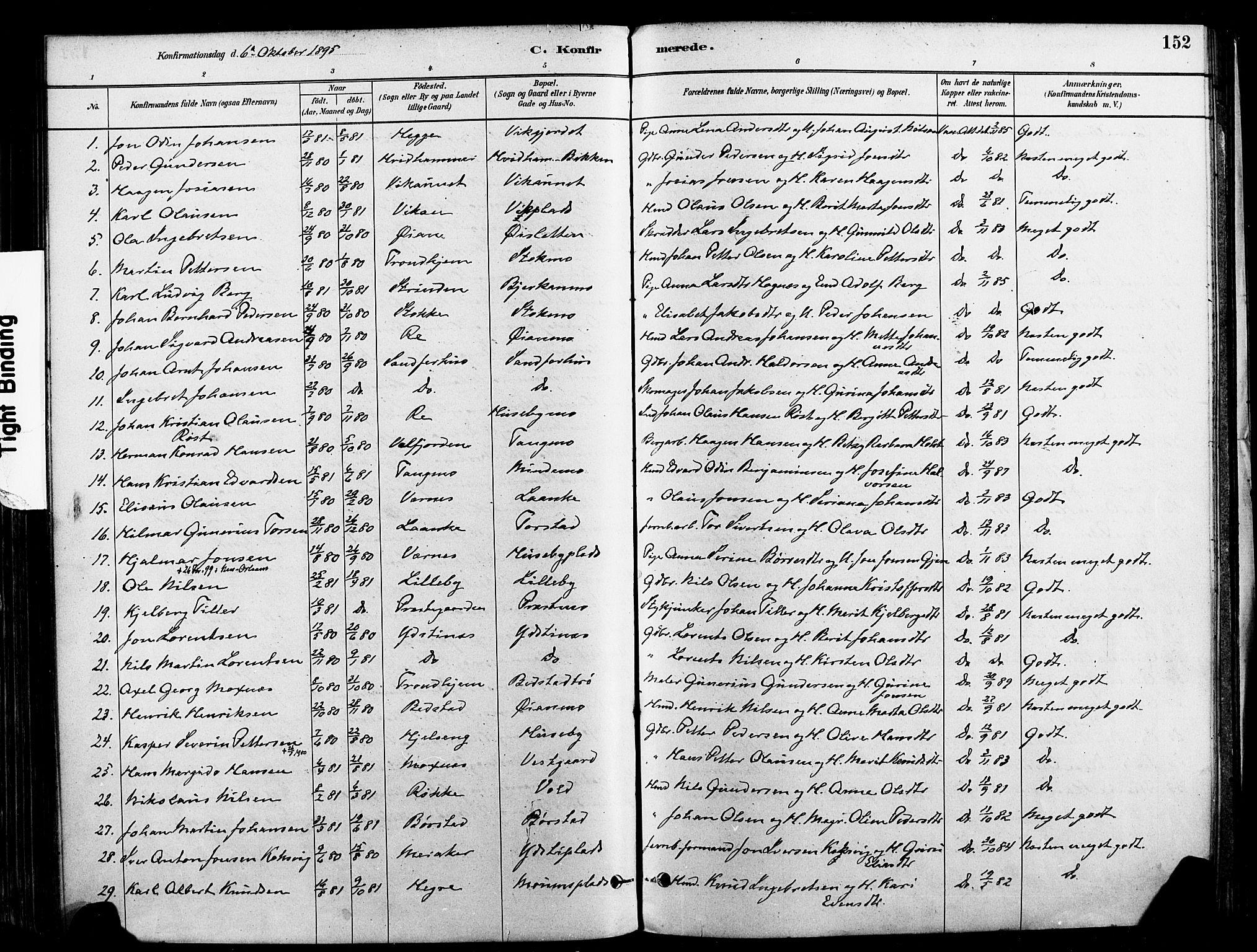 SAT, Ministerialprotokoller, klokkerbøker og fødselsregistre - Nord-Trøndelag, 709/L0077: Ministerialbok nr. 709A17, 1880-1895, s. 152