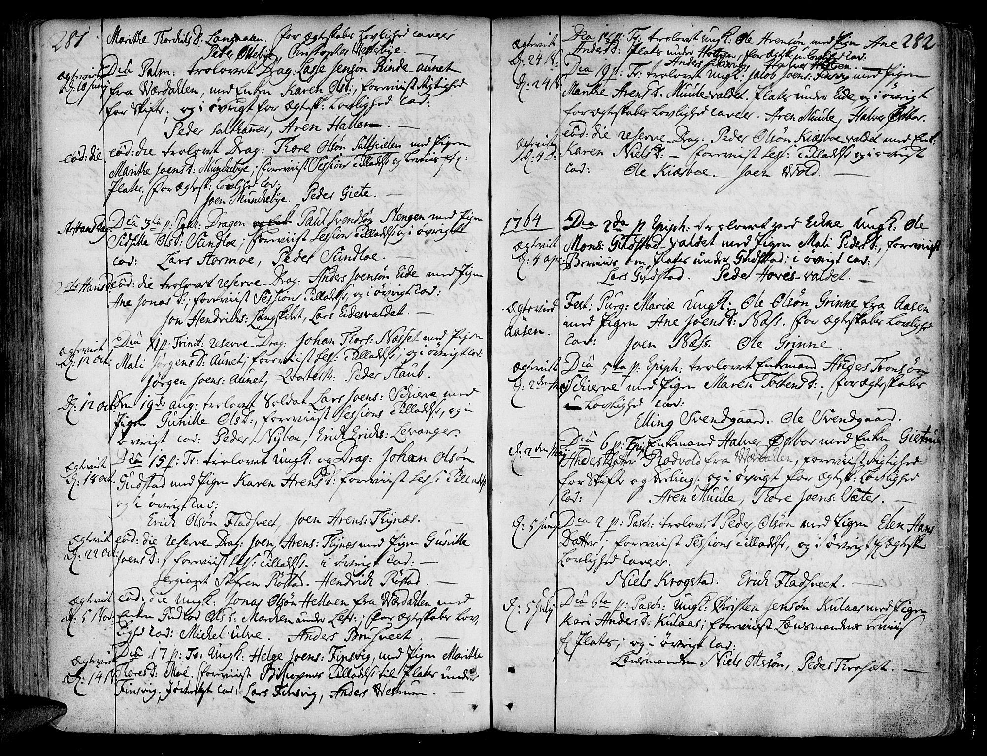 SAT, Ministerialprotokoller, klokkerbøker og fødselsregistre - Nord-Trøndelag, 717/L0141: Ministerialbok nr. 717A01, 1747-1803, s. 281-282