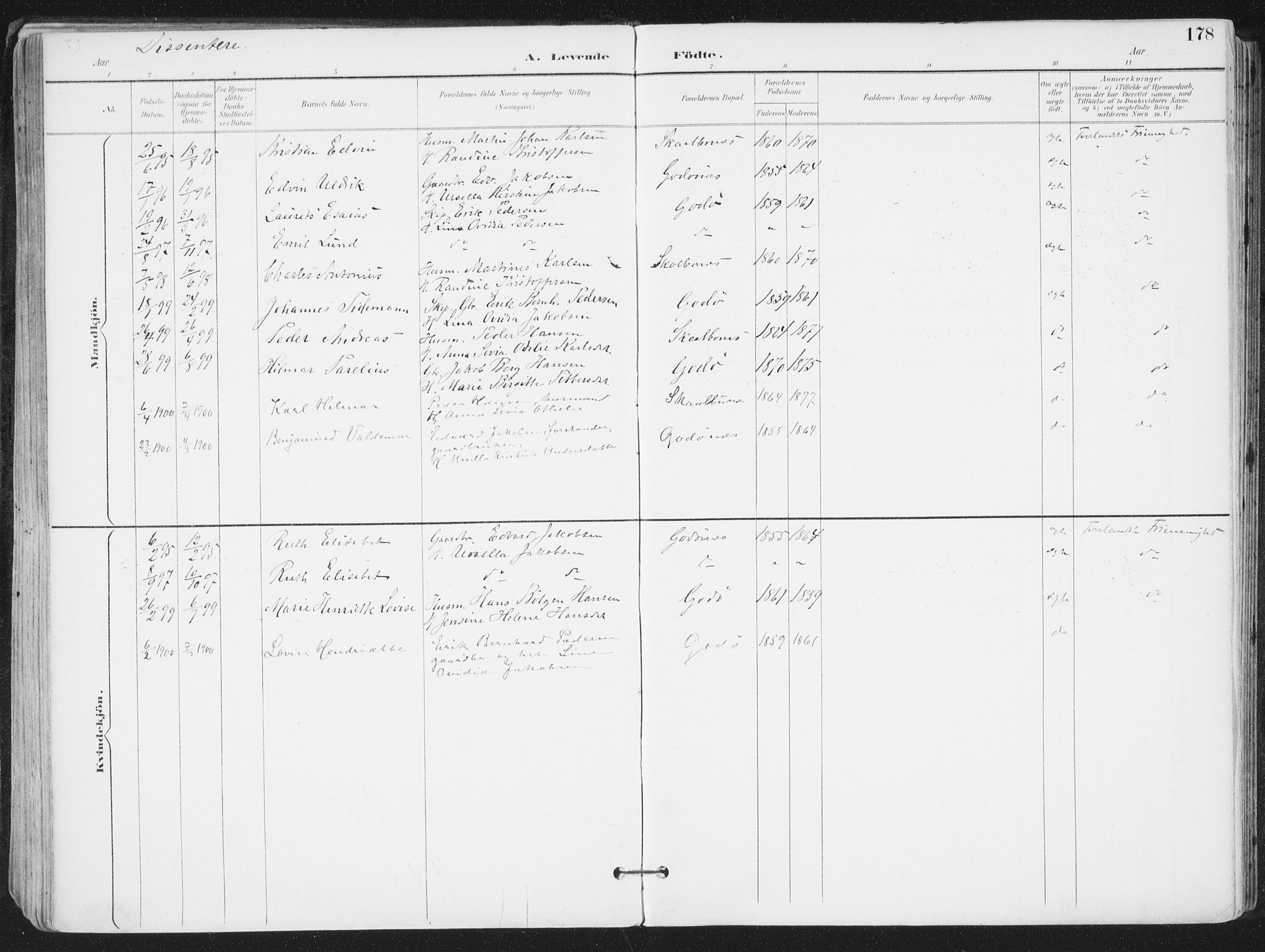 SAT, Ministerialprotokoller, klokkerbøker og fødselsregistre - Nordland, 802/L0055: Ministerialbok nr. 802A02, 1894-1915, s. 178