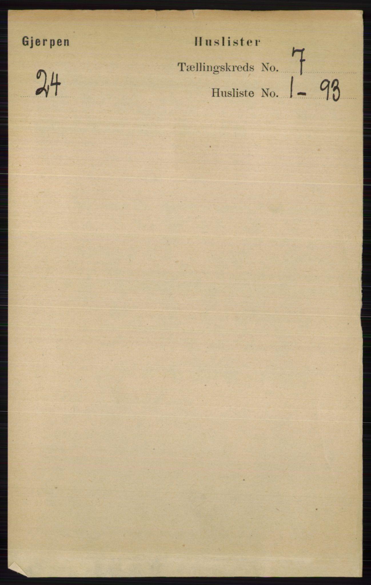RA, Folketelling 1891 for 0812 Gjerpen herred, 1891, s. 3307