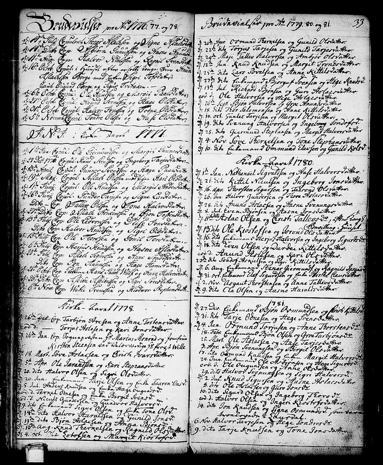 SAKO, Vinje kirkebøker, F/Fa/L0002: Ministerialbok nr. I 2, 1767-1814, s. 33