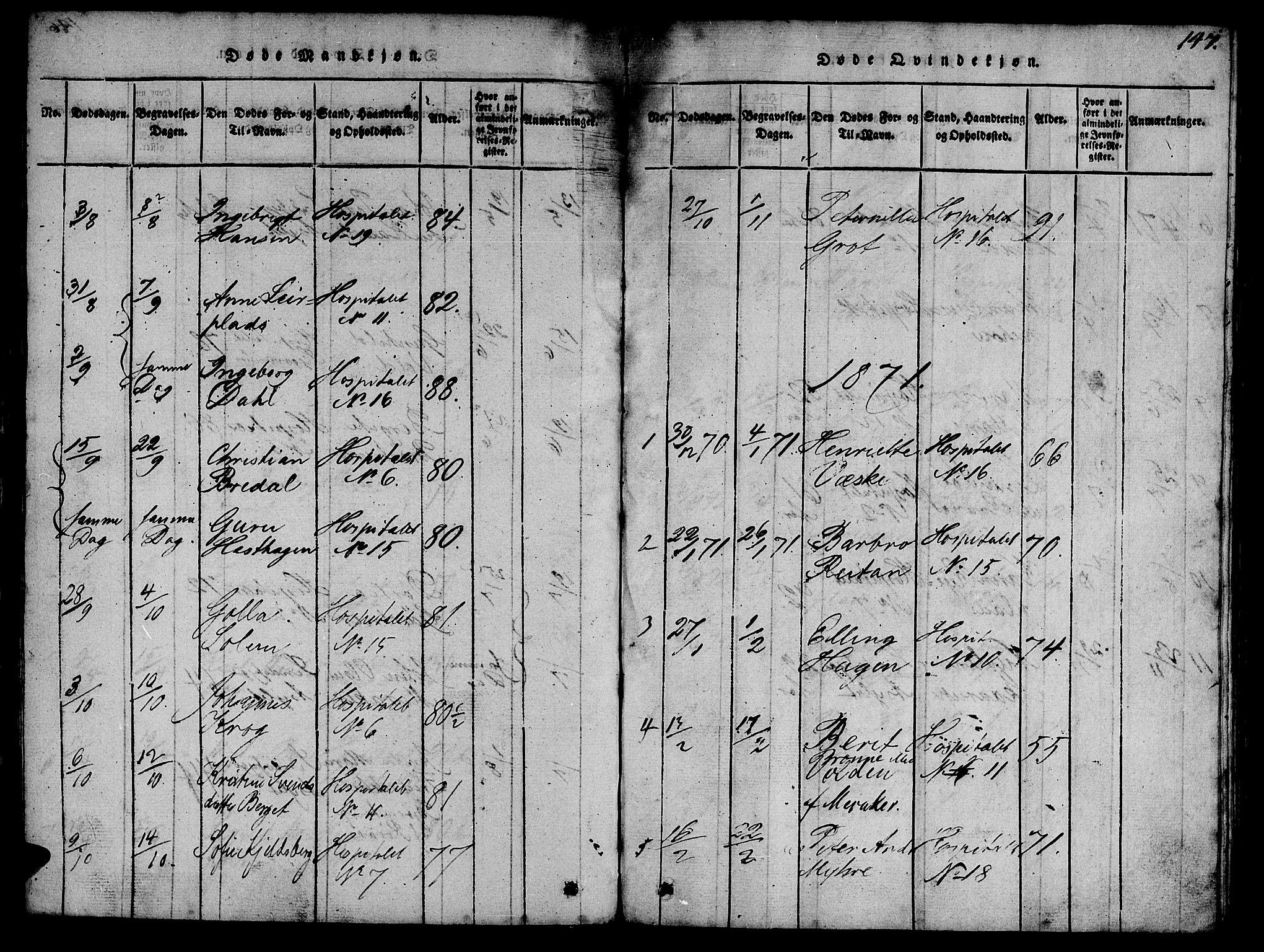 SAT, Ministerialprotokoller, klokkerbøker og fødselsregistre - Sør-Trøndelag, 623/L0478: Klokkerbok nr. 623C01, 1815-1873, s. 147