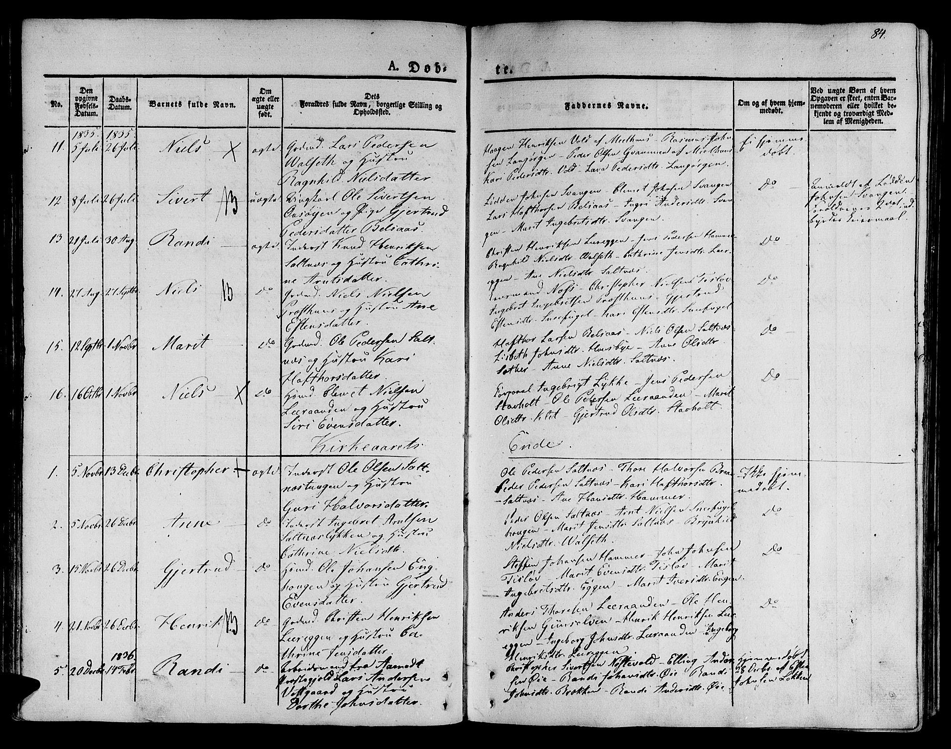 SAT, Ministerialprotokoller, klokkerbøker og fødselsregistre - Sør-Trøndelag, 612/L0375: Ministerialbok nr. 612A07 /2, 1829-1845, s. 84