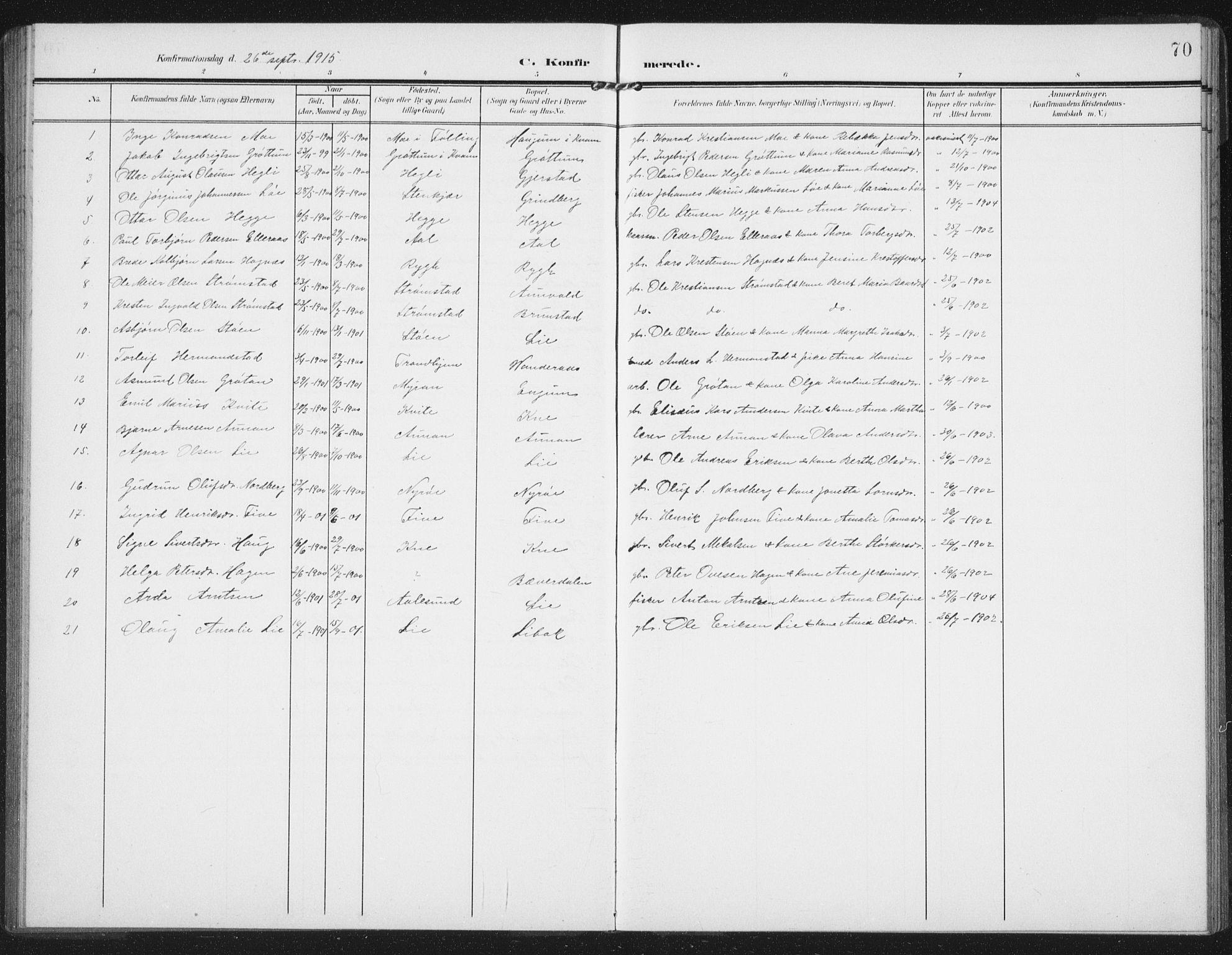 SAT, Ministerialprotokoller, klokkerbøker og fødselsregistre - Nord-Trøndelag, 747/L0460: Klokkerbok nr. 747C02, 1908-1939, s. 70
