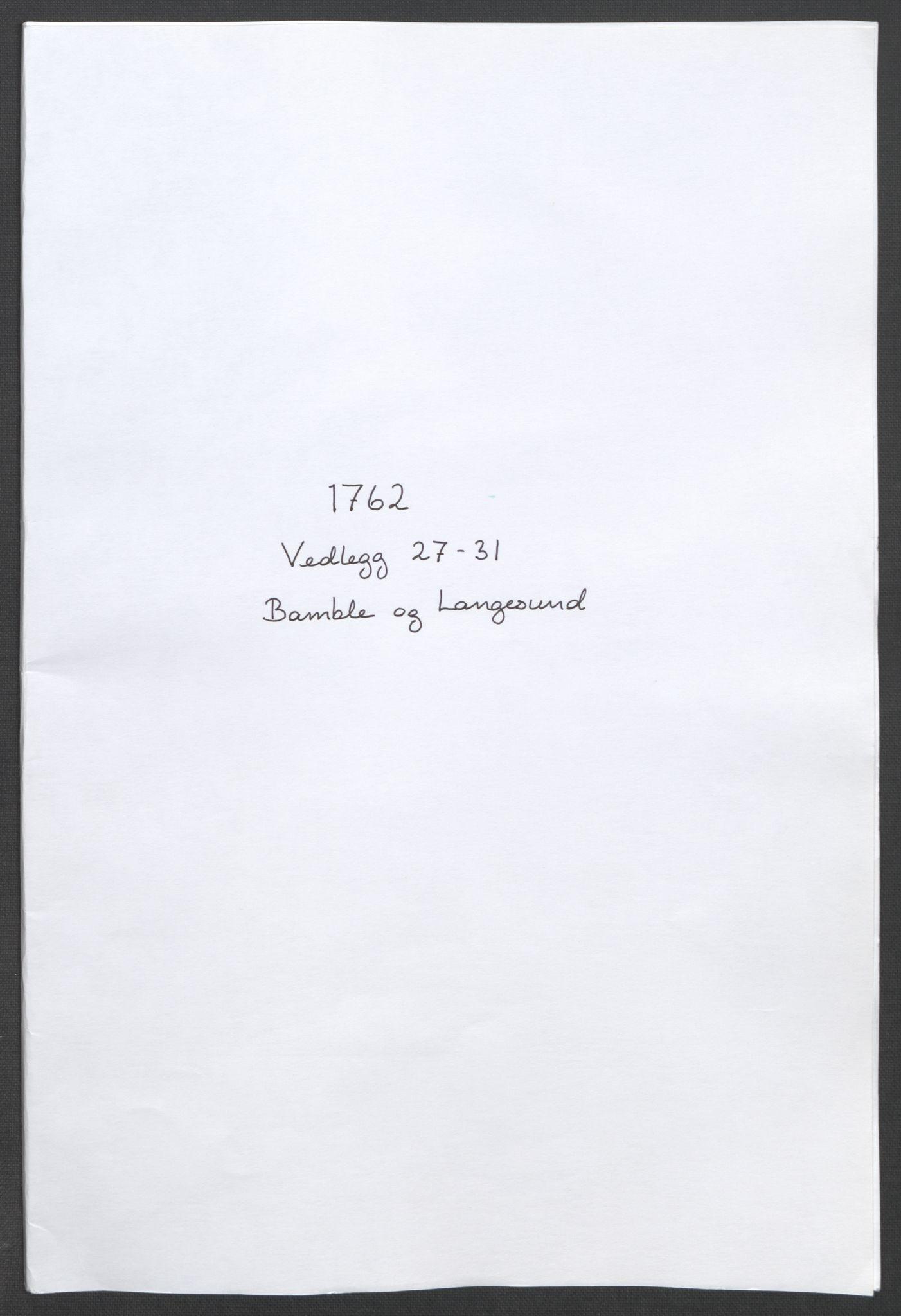 RA, Rentekammeret inntil 1814, Reviderte regnskaper, Fogderegnskap, R37/L2239: Ekstraskatten Nedre Telemark og Bamble, 1762-1763, s. 241