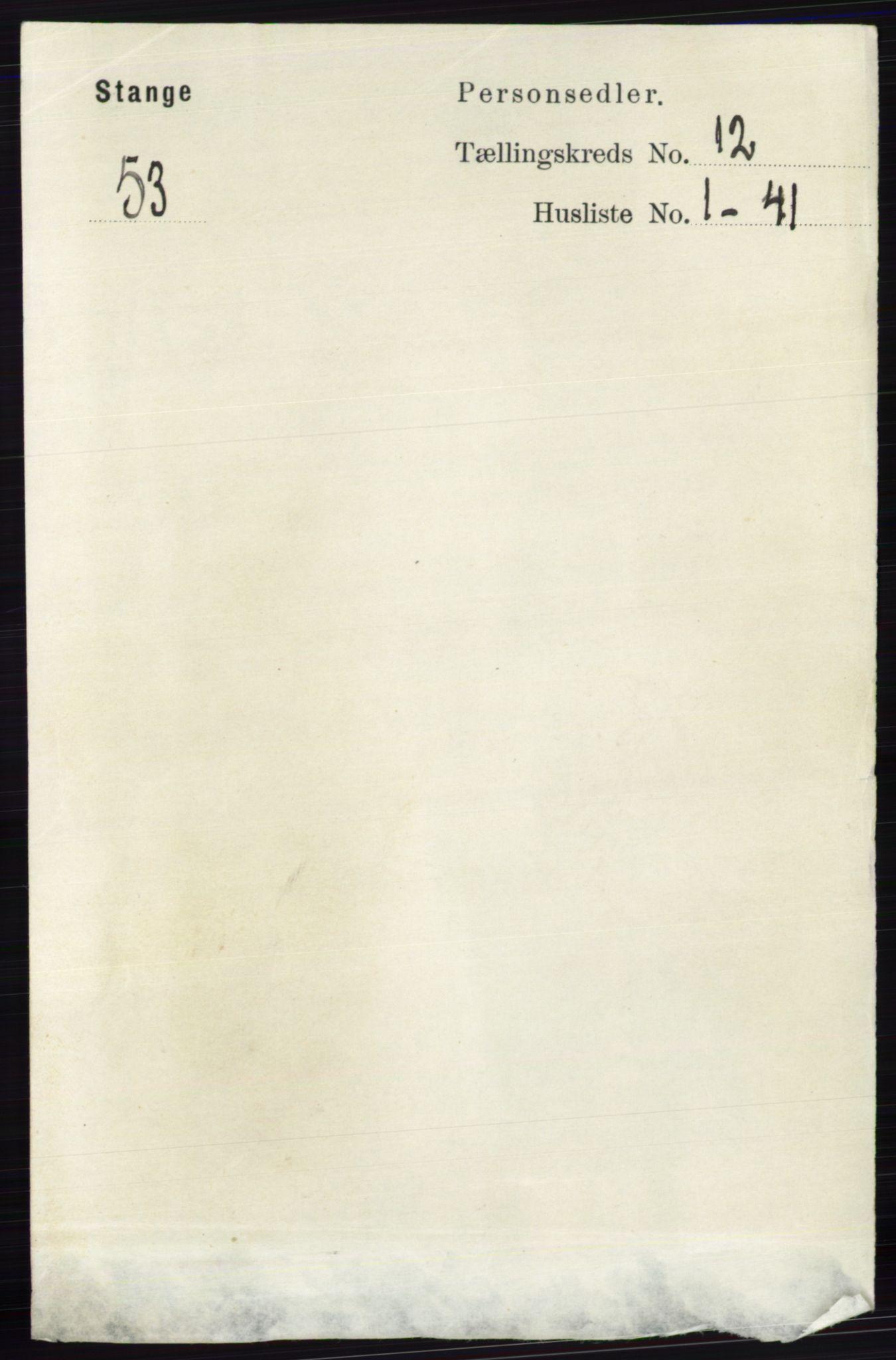RA, Folketelling 1891 for 0417 Stange herred, 1891, s. 7991