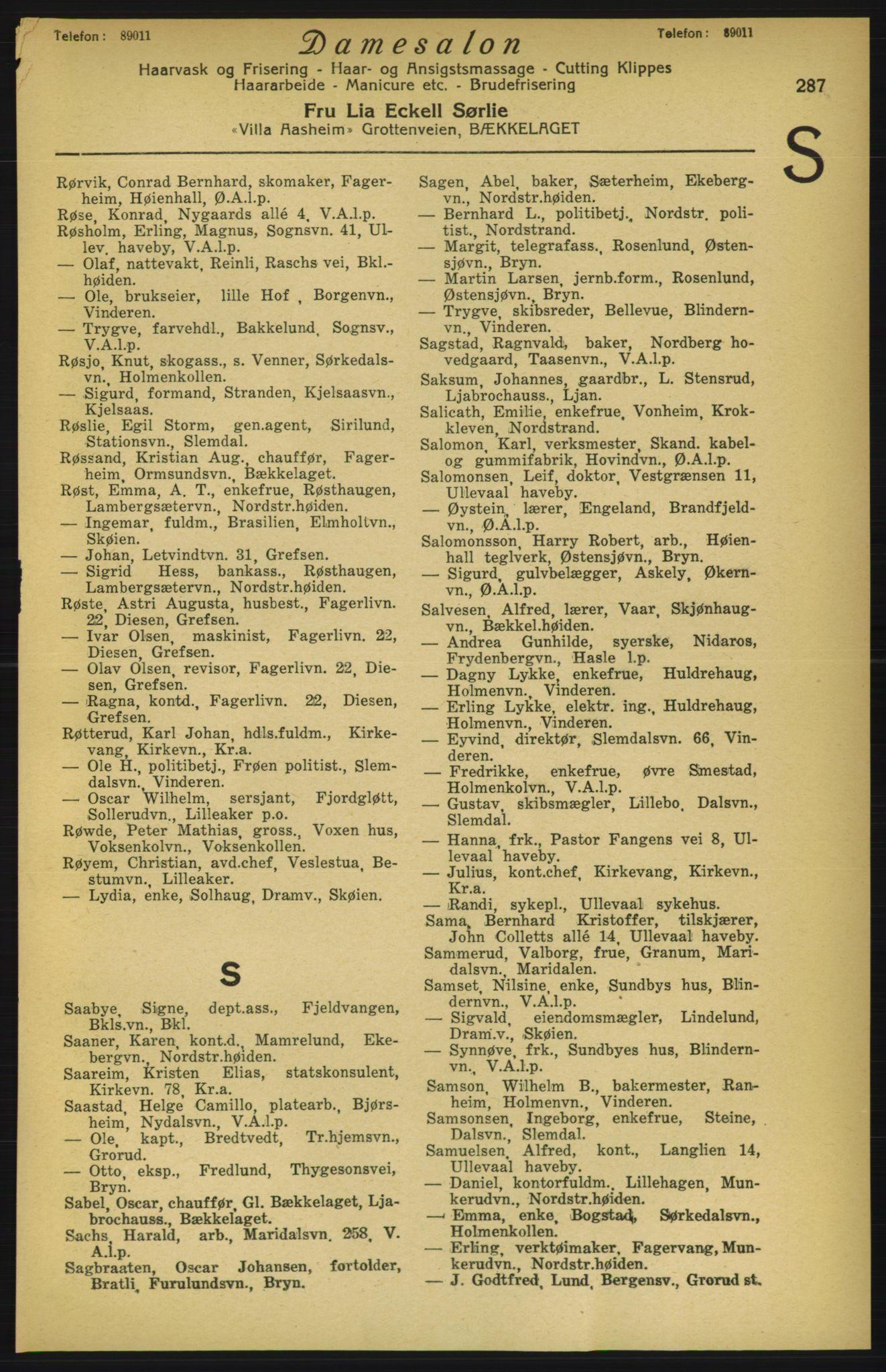 PUBL, Aker adressebok/adressekalender, 1924-1925, s. 287
