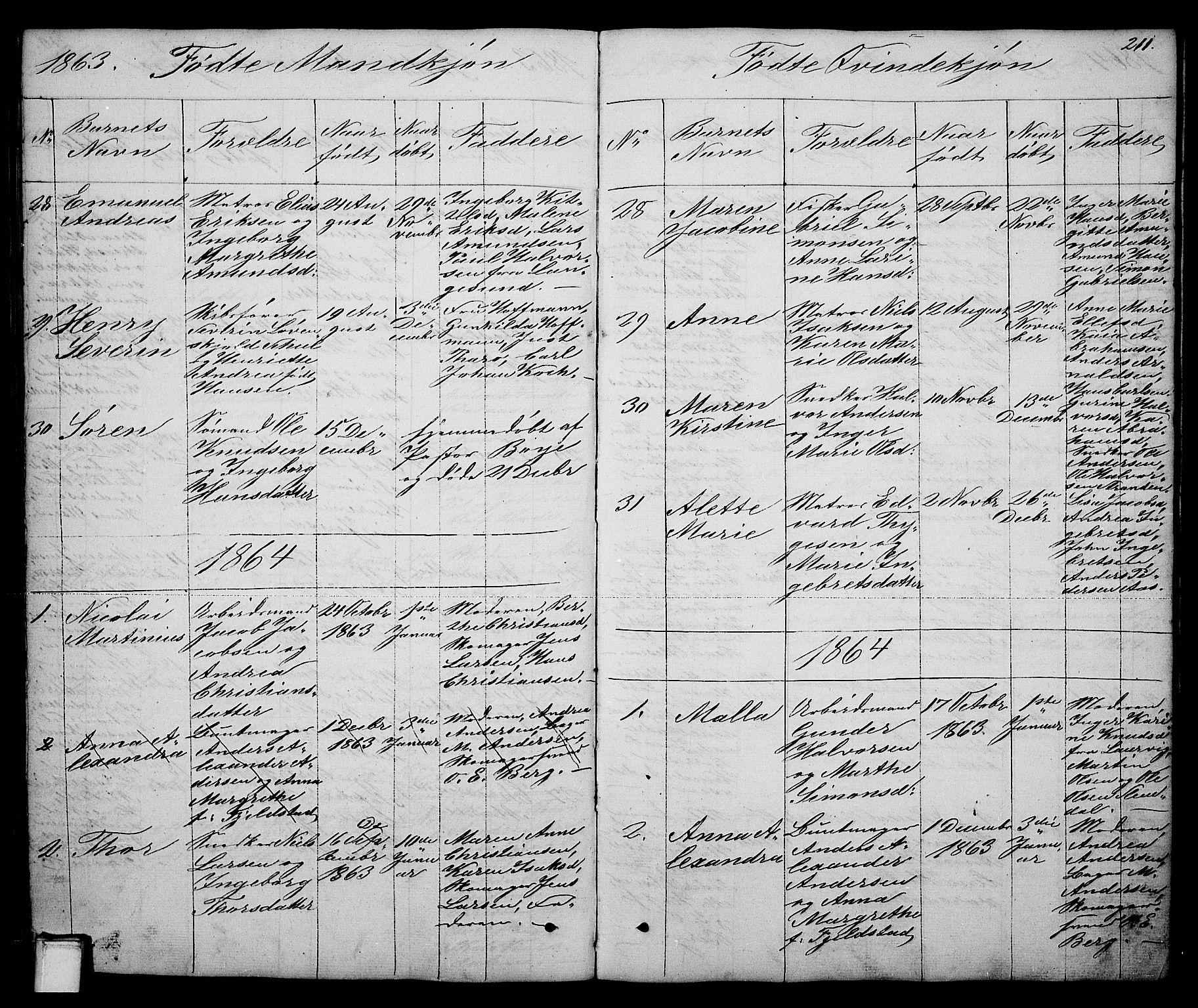 SAKO, Brevik kirkebøker, G/Ga/L0002: Klokkerbok nr. 2, 1846-1865, s. 211