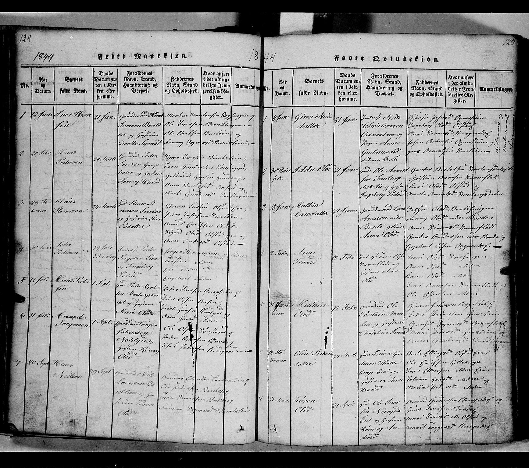 SAH, Gausdal prestekontor, Klokkerbok nr. 2, 1818-1874, s. 124-125