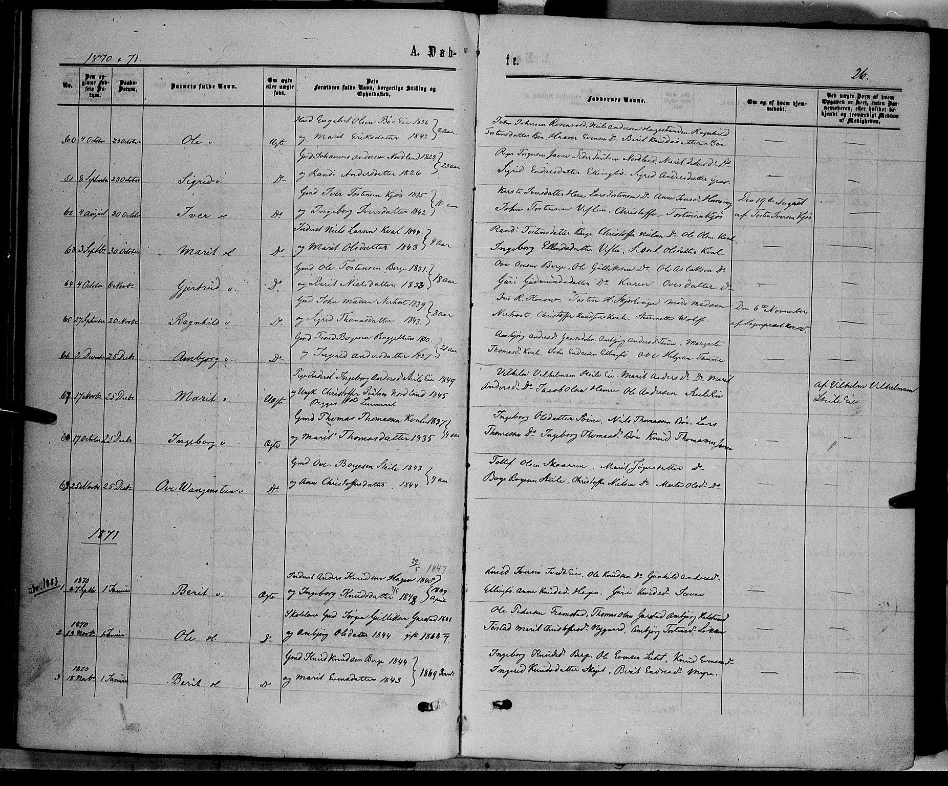 SAH, Vang prestekontor, Valdres, Ministerialbok nr. 7, 1865-1881, s. 26