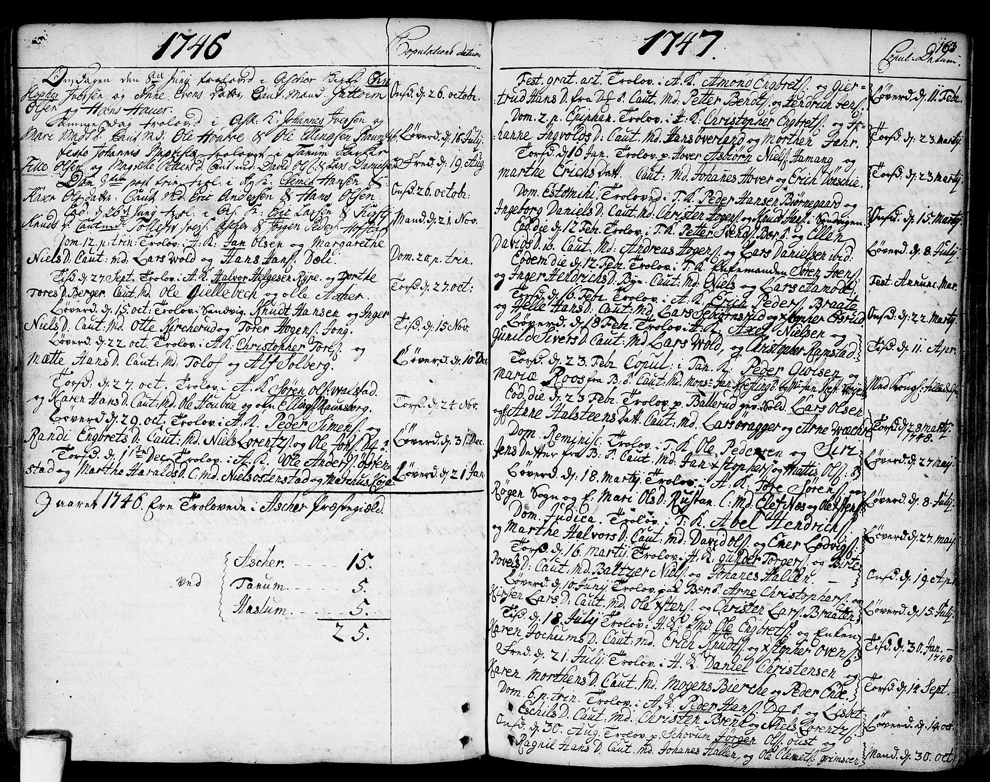 SAO, Asker prestekontor Kirkebøker, F/Fa/L0002: Ministerialbok nr. I 2, 1733-1766, s. 163