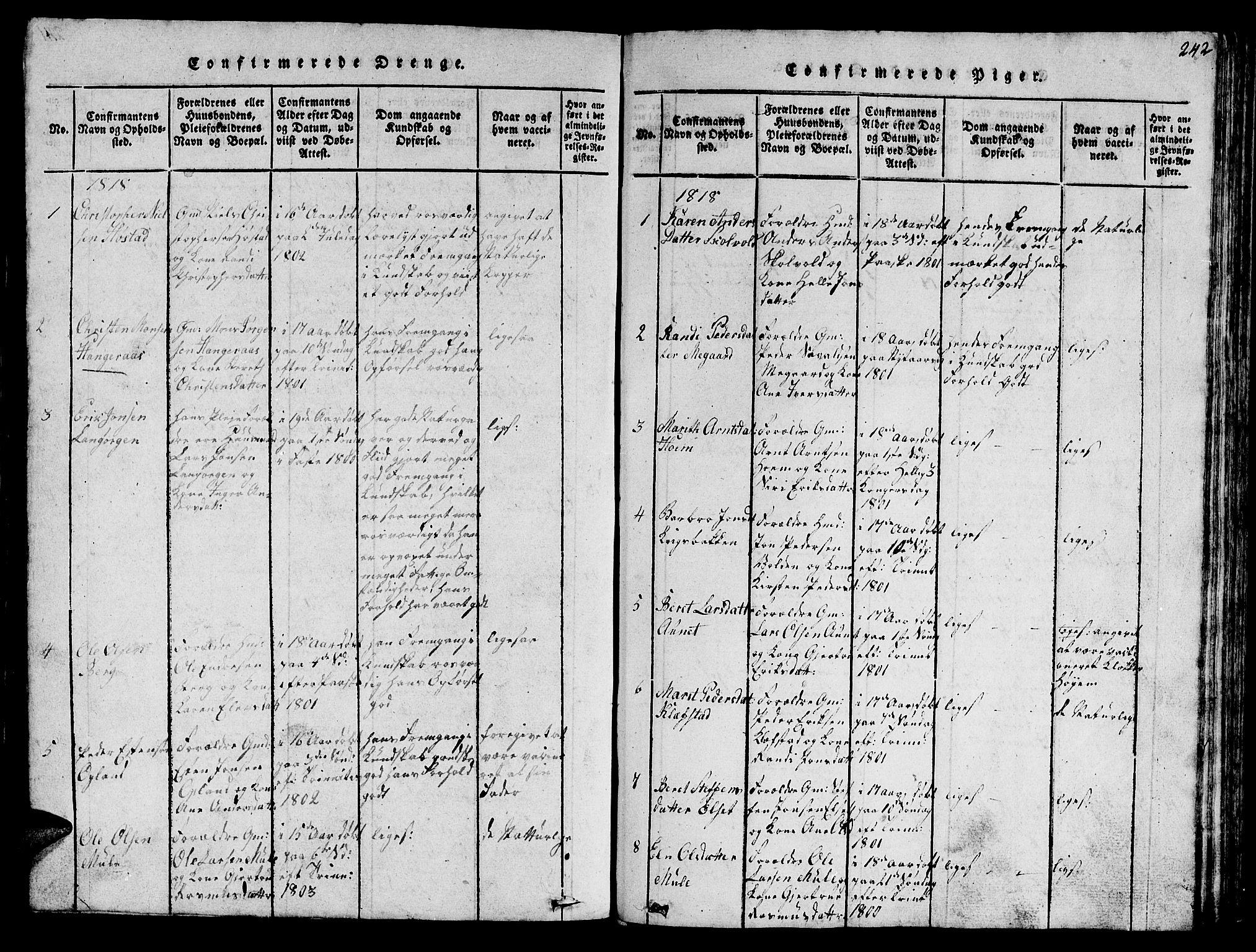 SAT, Ministerialprotokoller, klokkerbøker og fødselsregistre - Sør-Trøndelag, 612/L0385: Klokkerbok nr. 612C01, 1816-1845, s. 242