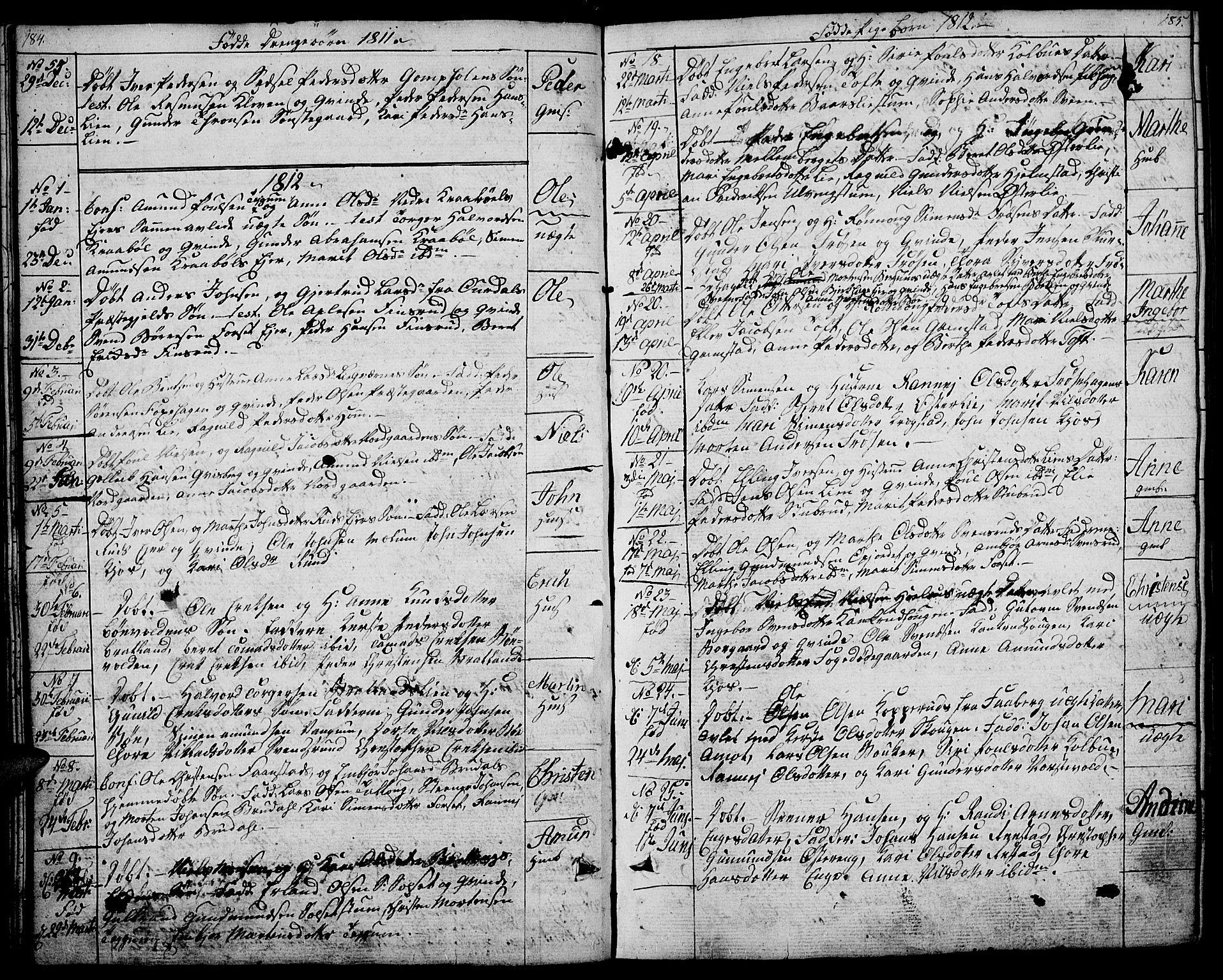 SAH, Gausdal prestekontor, Ministerialbok nr. 4, 1809-1817, s. 184-185